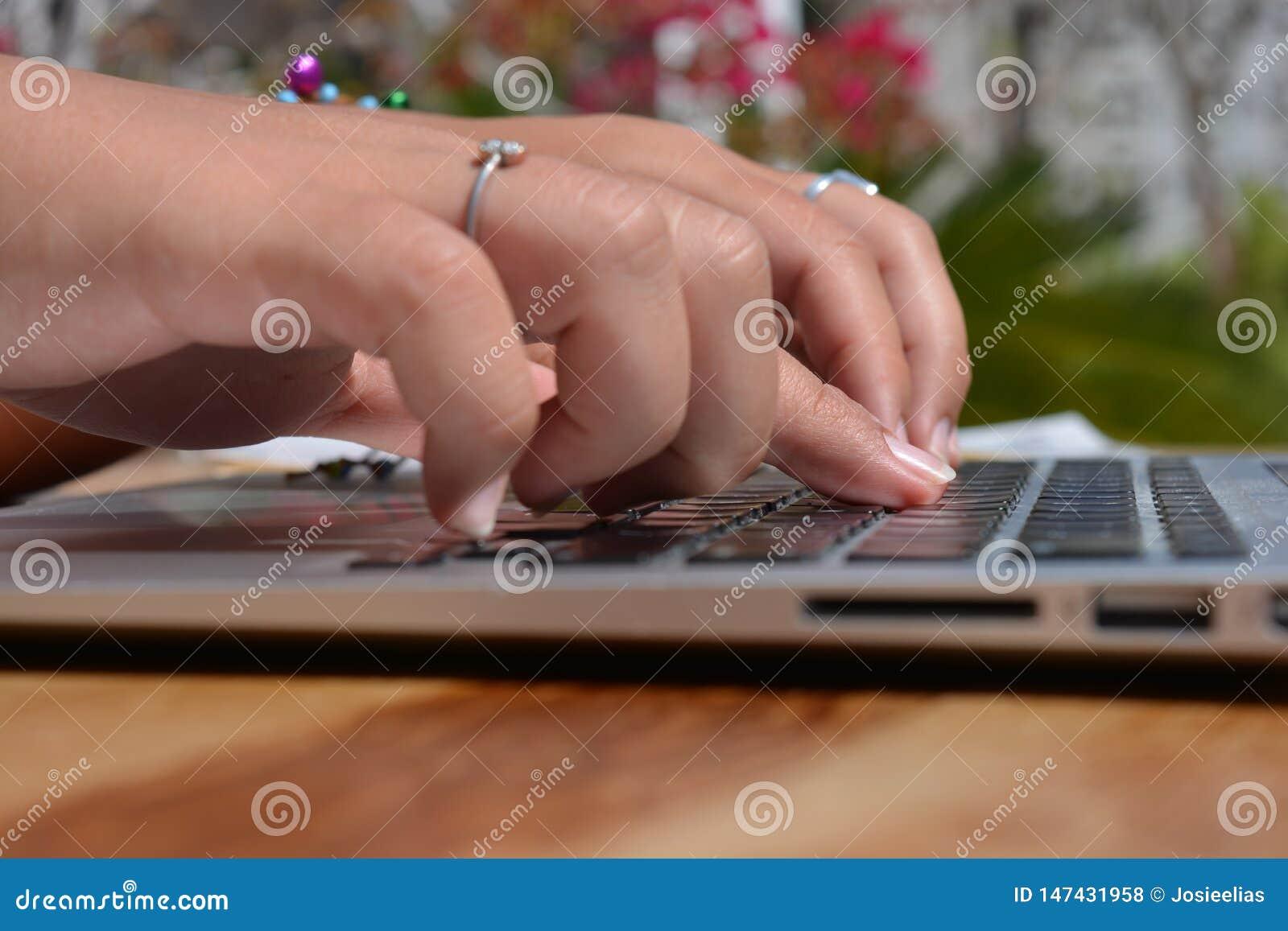 键入在膝上型计算机键盘