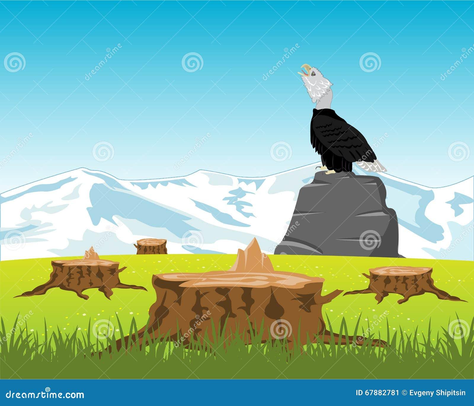 锯在木头和老鹰下在石头
