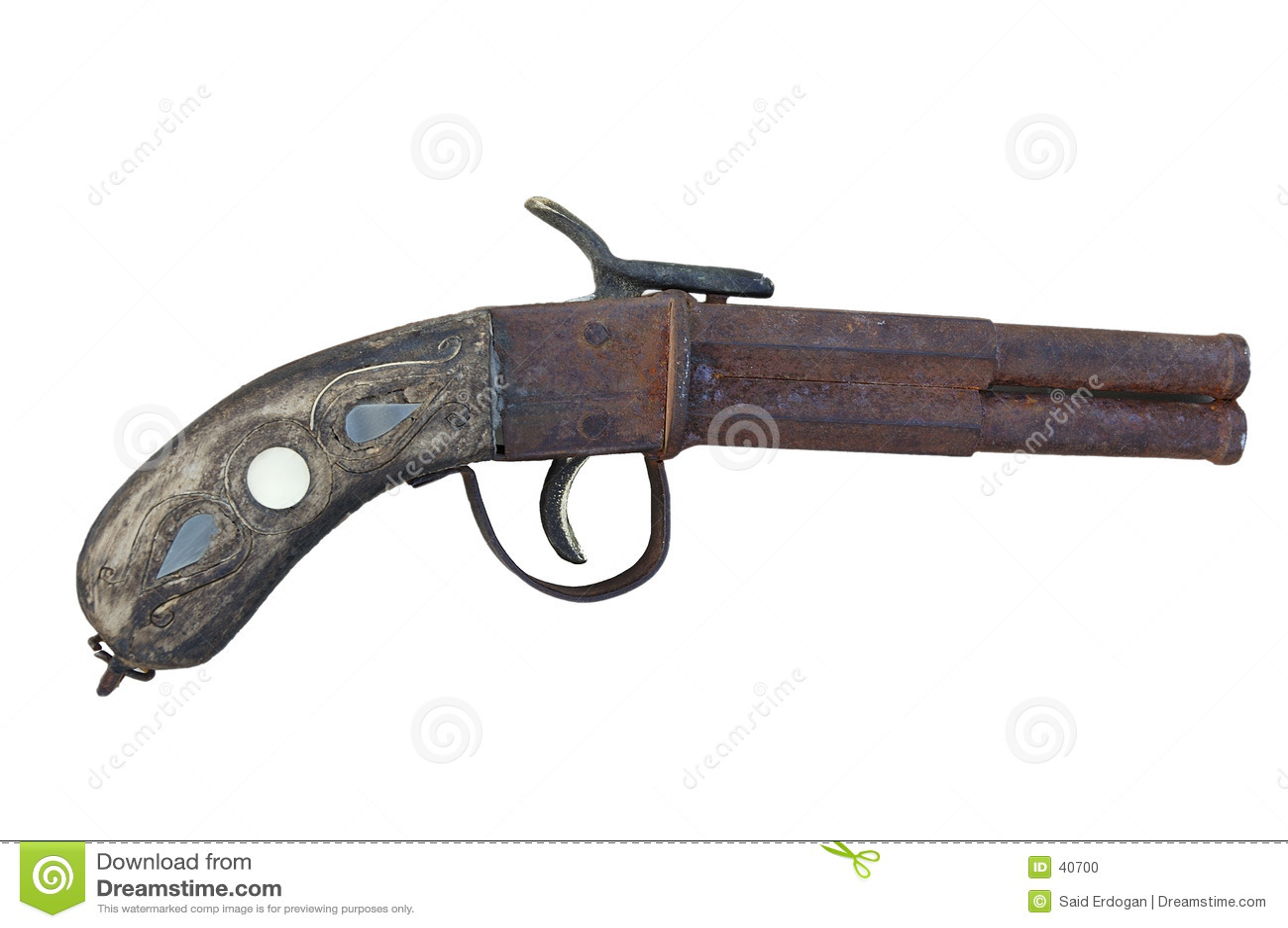 镶边的古色古香的手枪