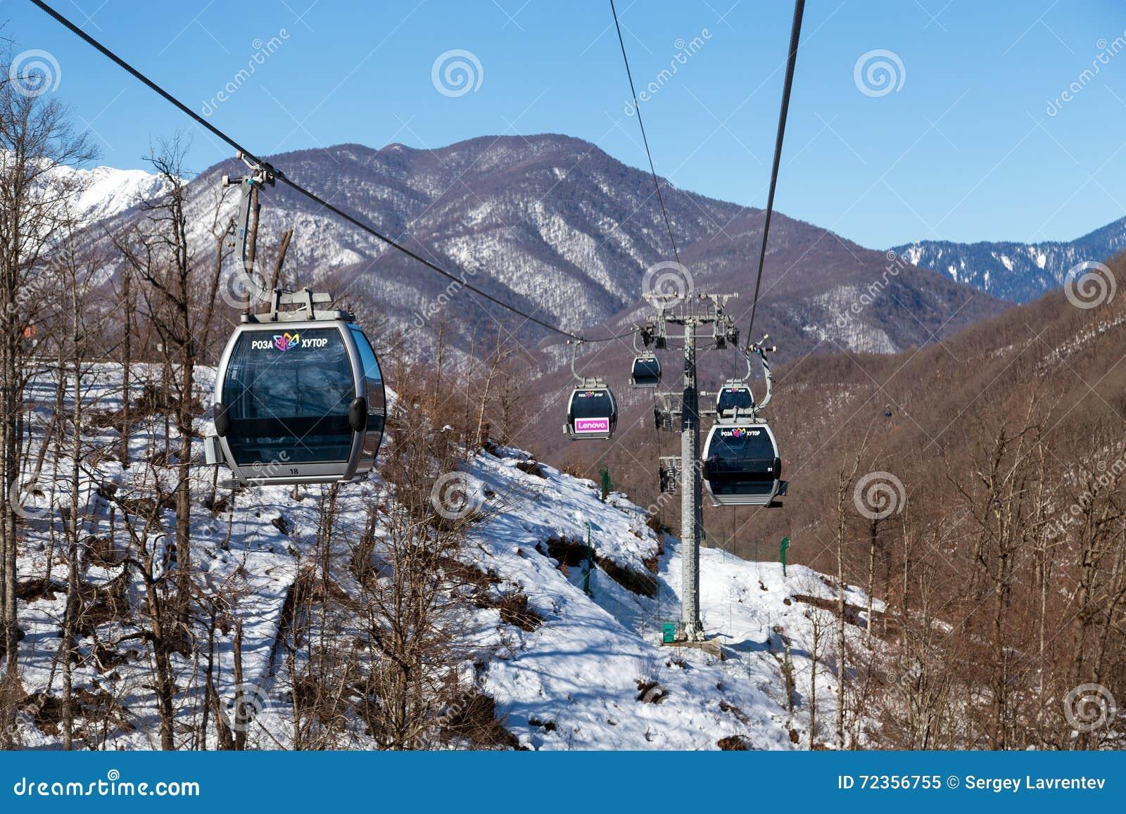 长平底船在罗莎Khutor滑雪胜地,索契,俄罗斯举