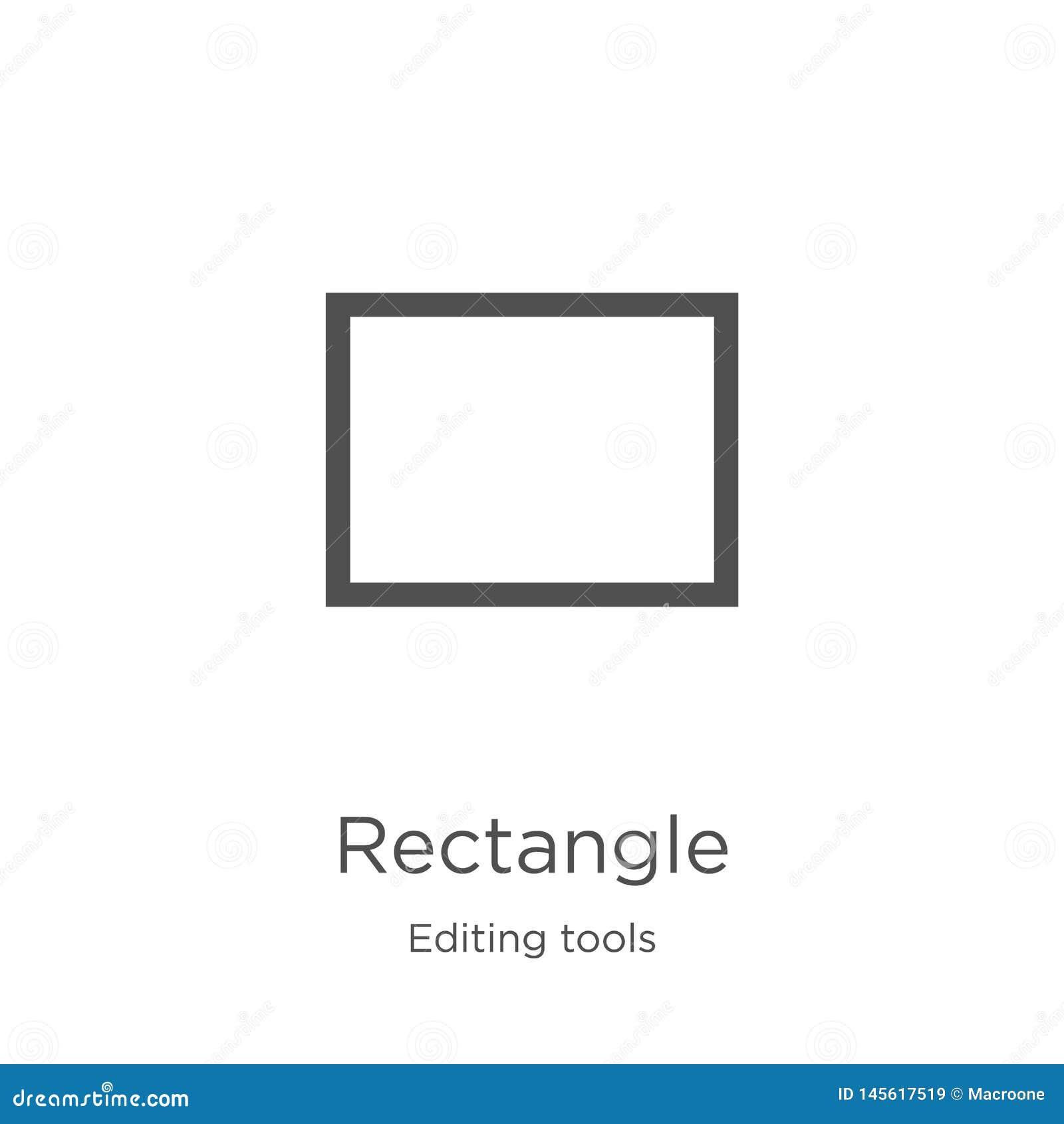 长方形从编辑工具汇集的象传染媒介 稀薄的线长方形概述象传染媒介例证 概述,稀薄的线