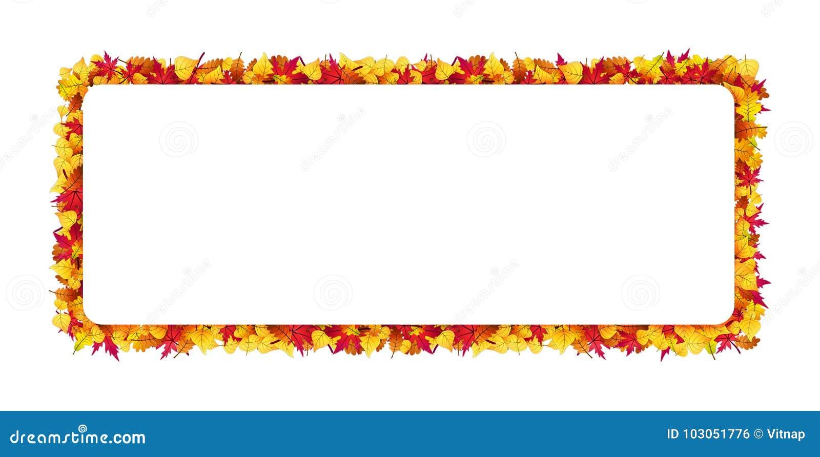 长方形框架由秋叶做成 边界月桂树离开橡木丝带模板向量