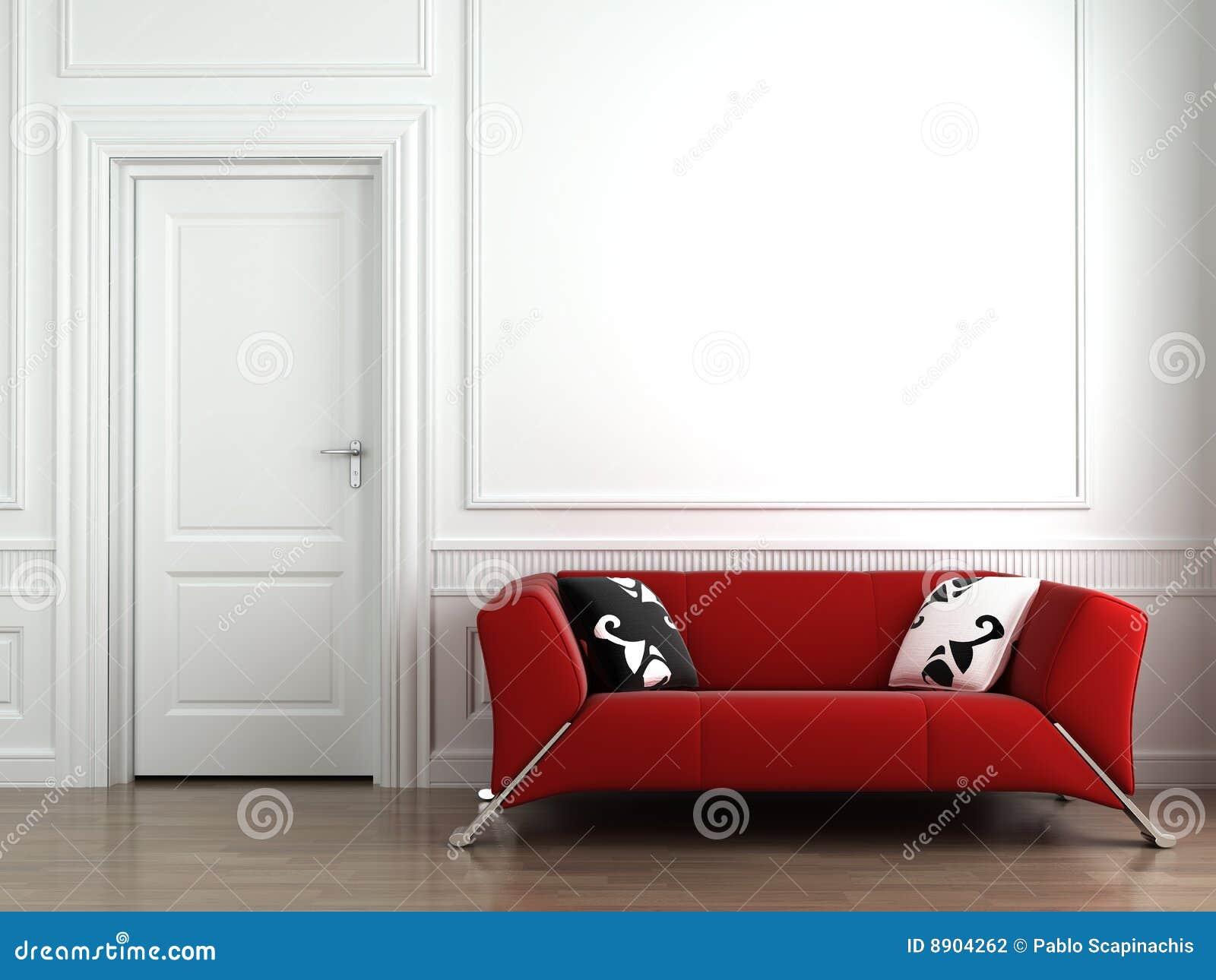 长沙发内部红色墙壁白色