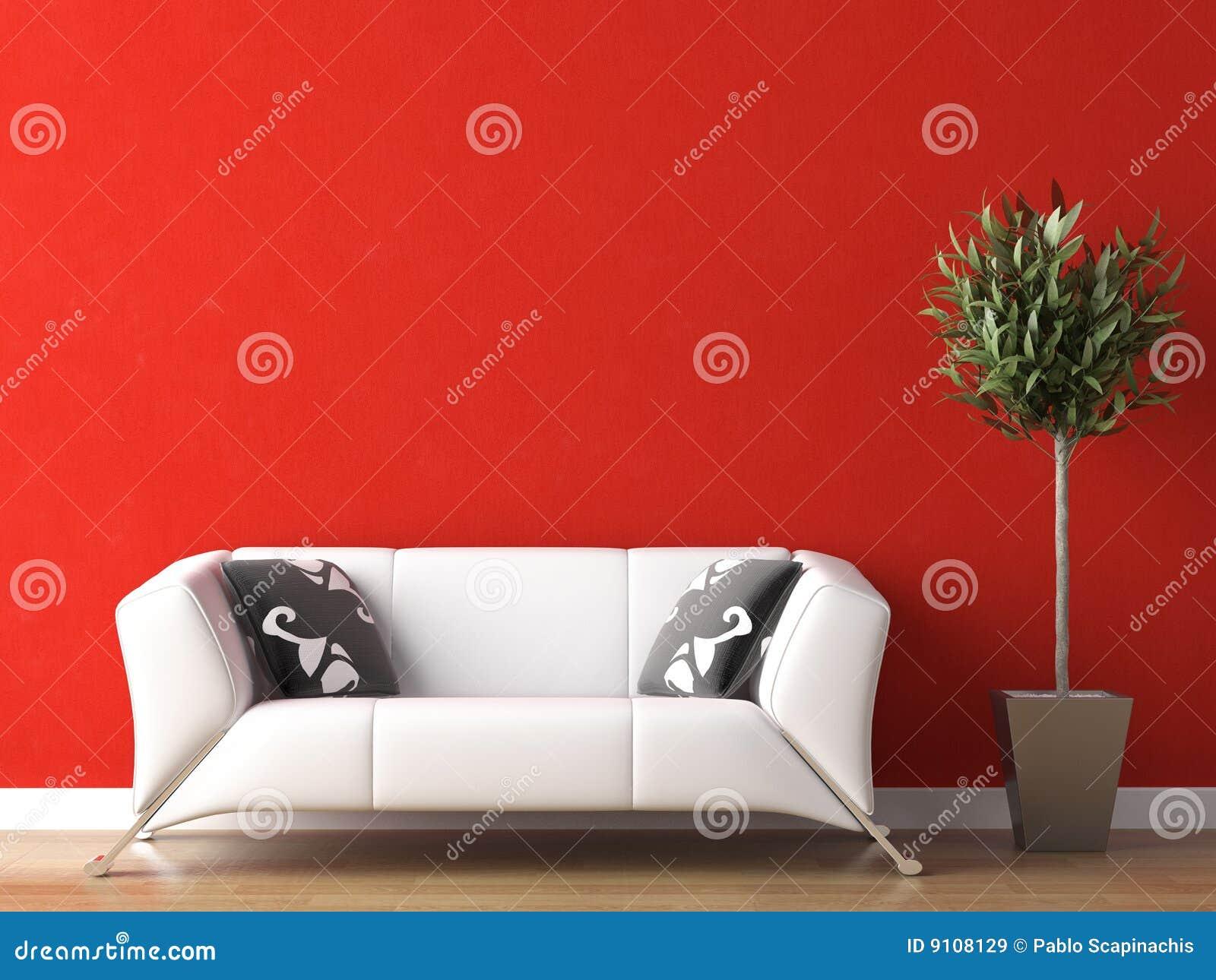长沙发设计内部红色墙壁白色