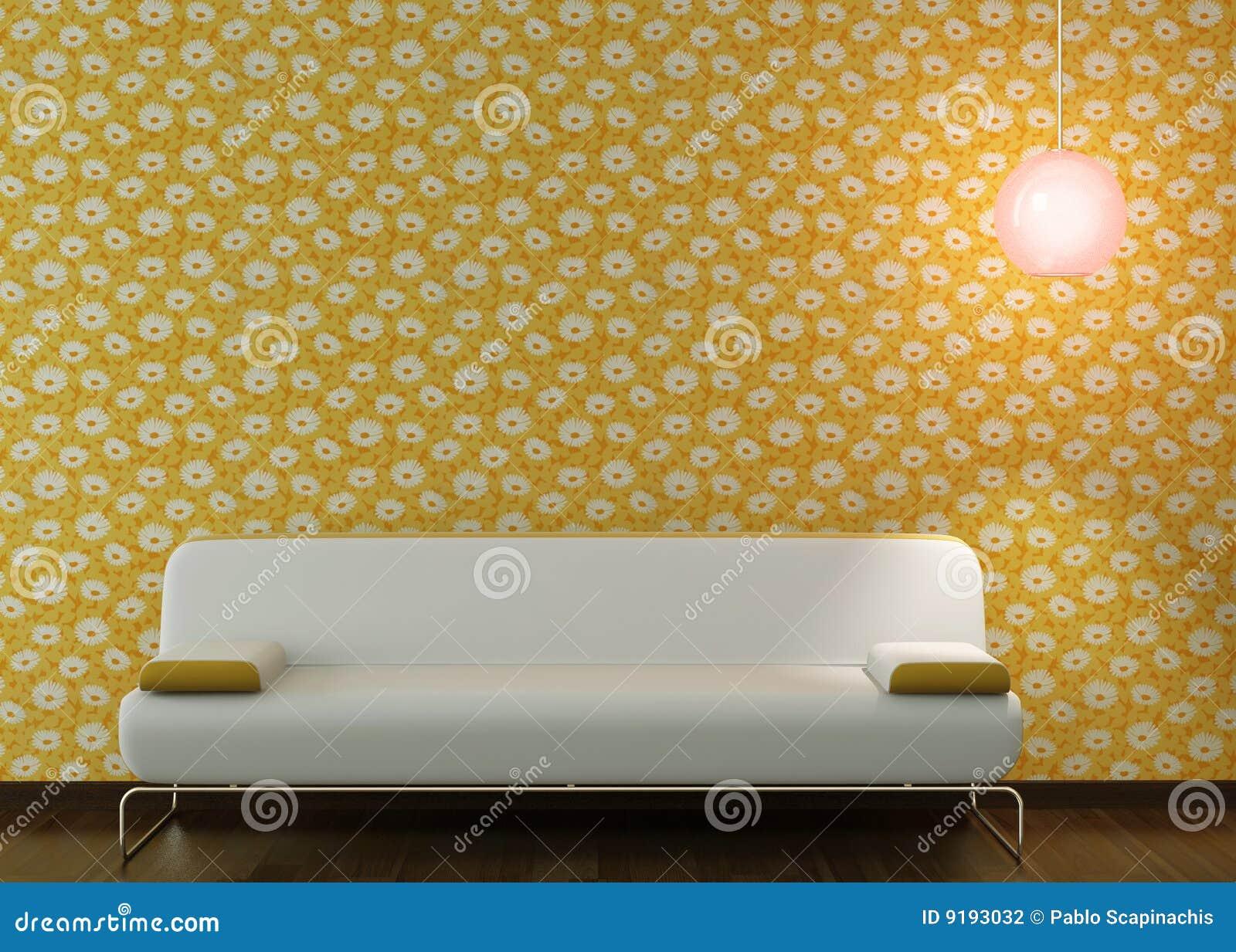 长沙发设计用花装饰的内部墙纸