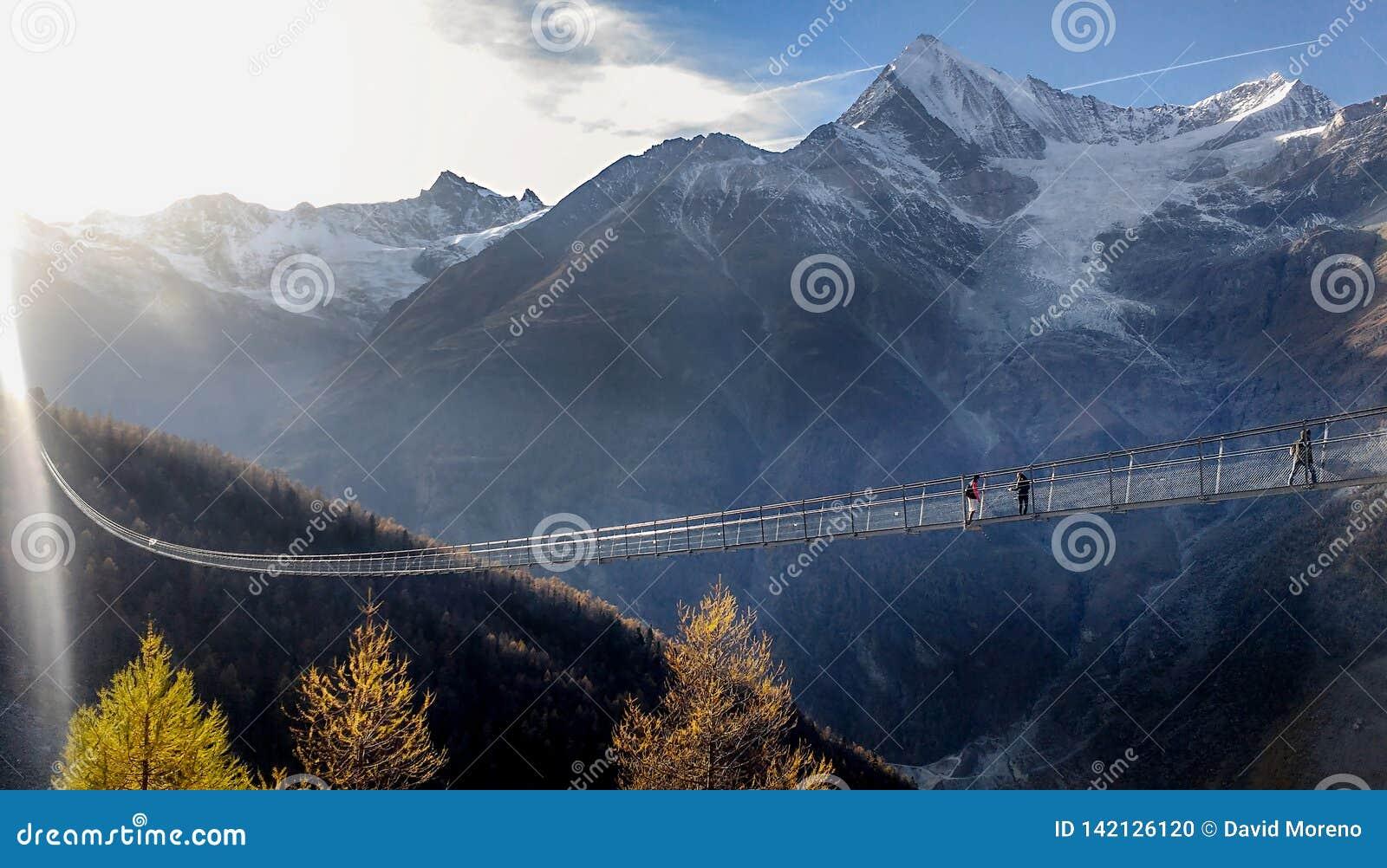 长的暂停的桥梁横穿深渊在瑞士
