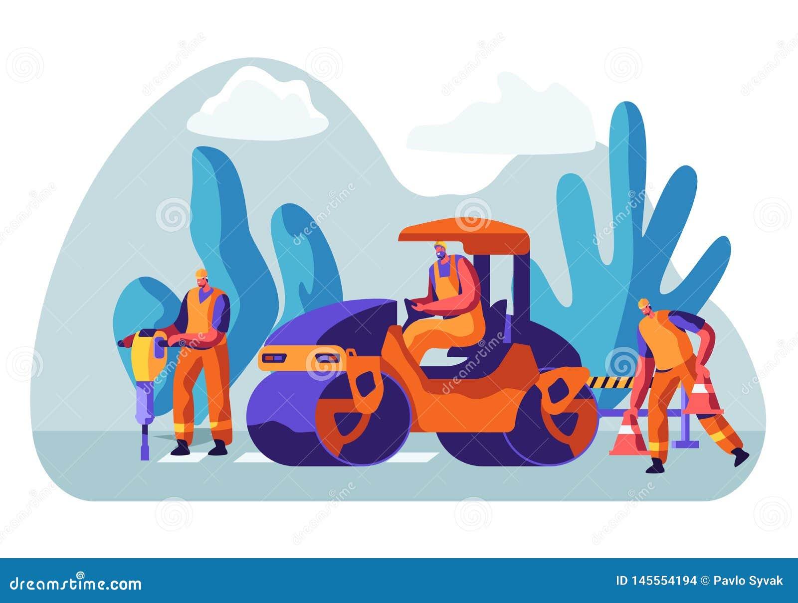 长跑训练和沥青铺 整体字符的人与重的涂柏油的机械 特别运输,路面压紧机