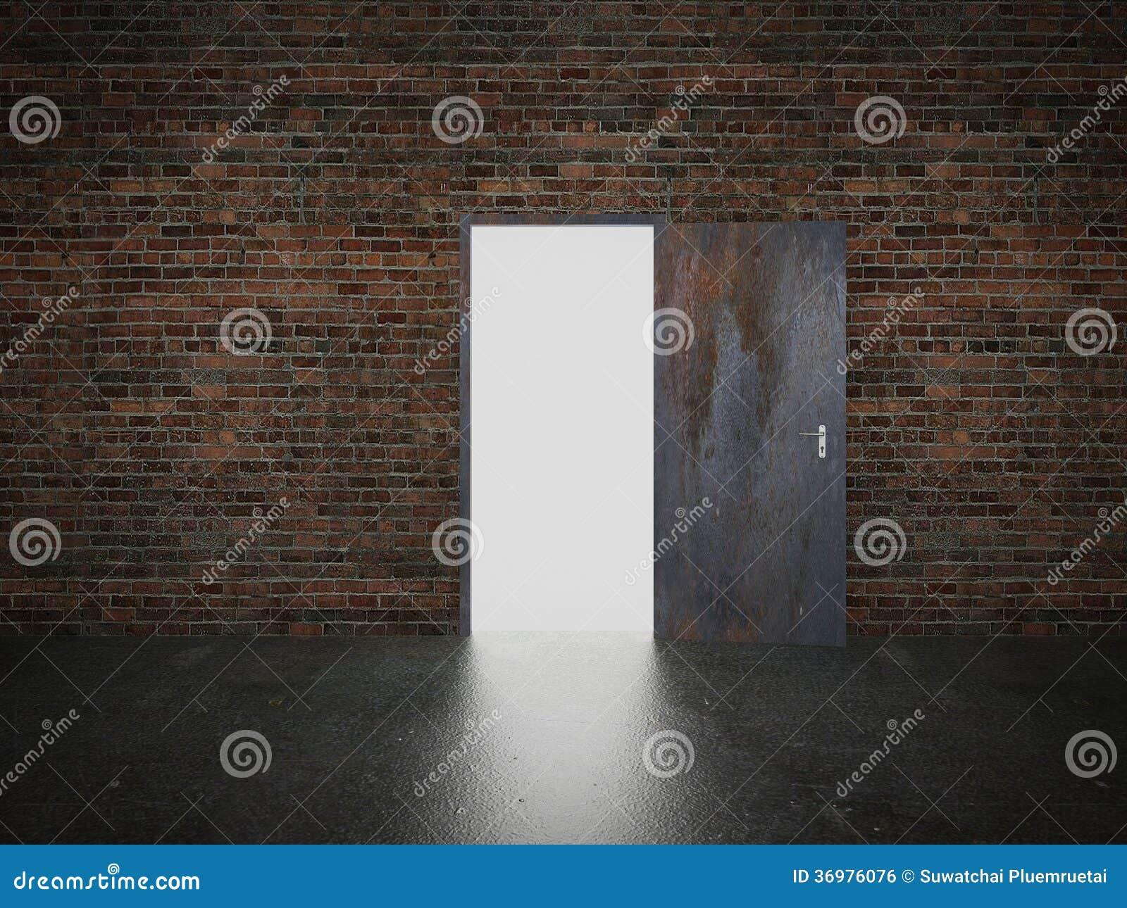 门开放在砖墙, 3d上