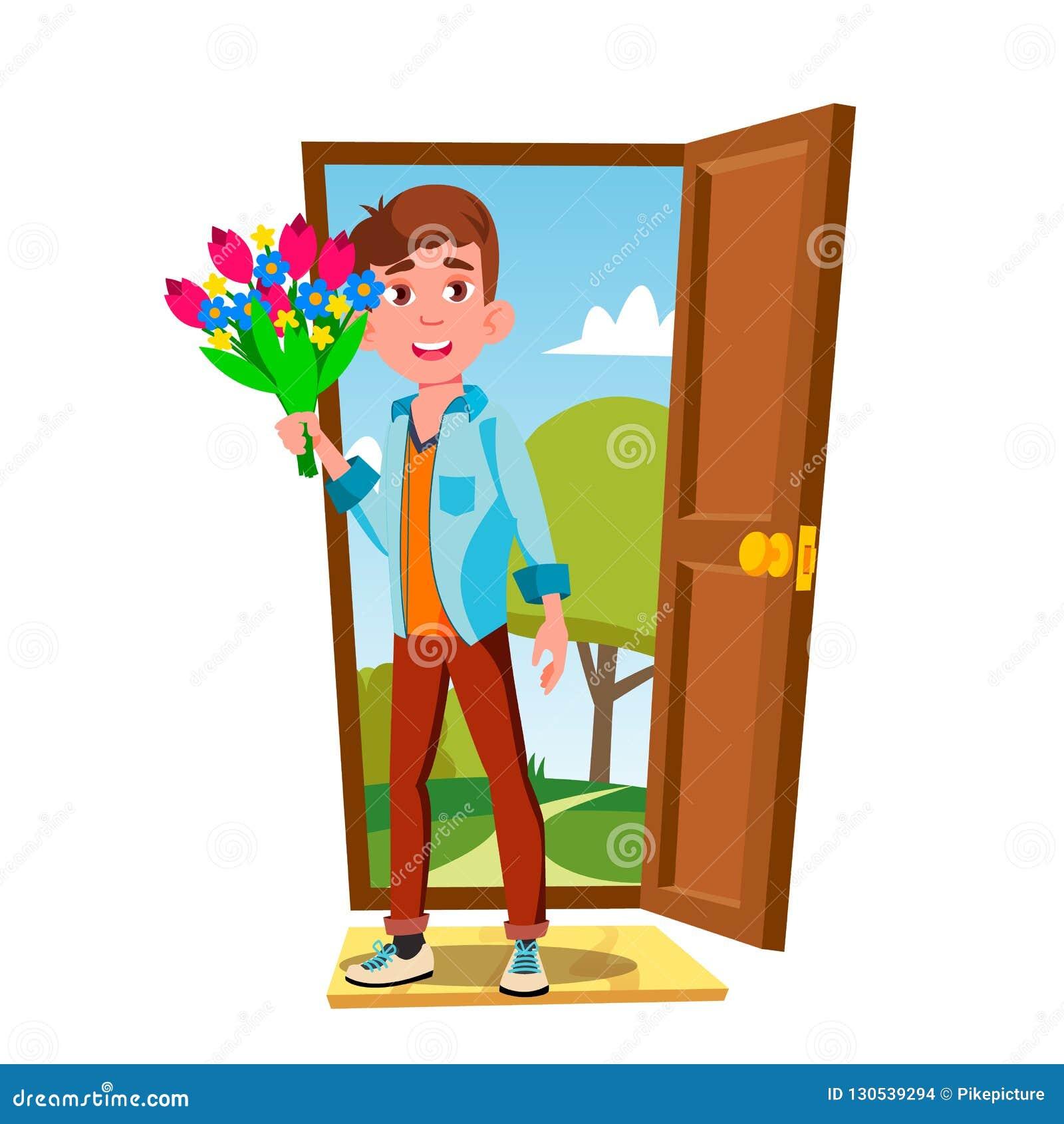 门户开放主义的年轻人与花和礼物传染媒介 按钮查出的现有量例证推进s启动妇女