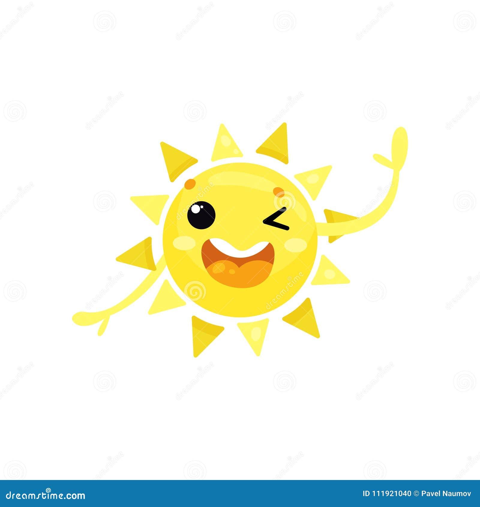 闪光眼睛和摇手的友好的黄色太阳动画片象,问好 滑稽的天气字符 olorful舱内甲板