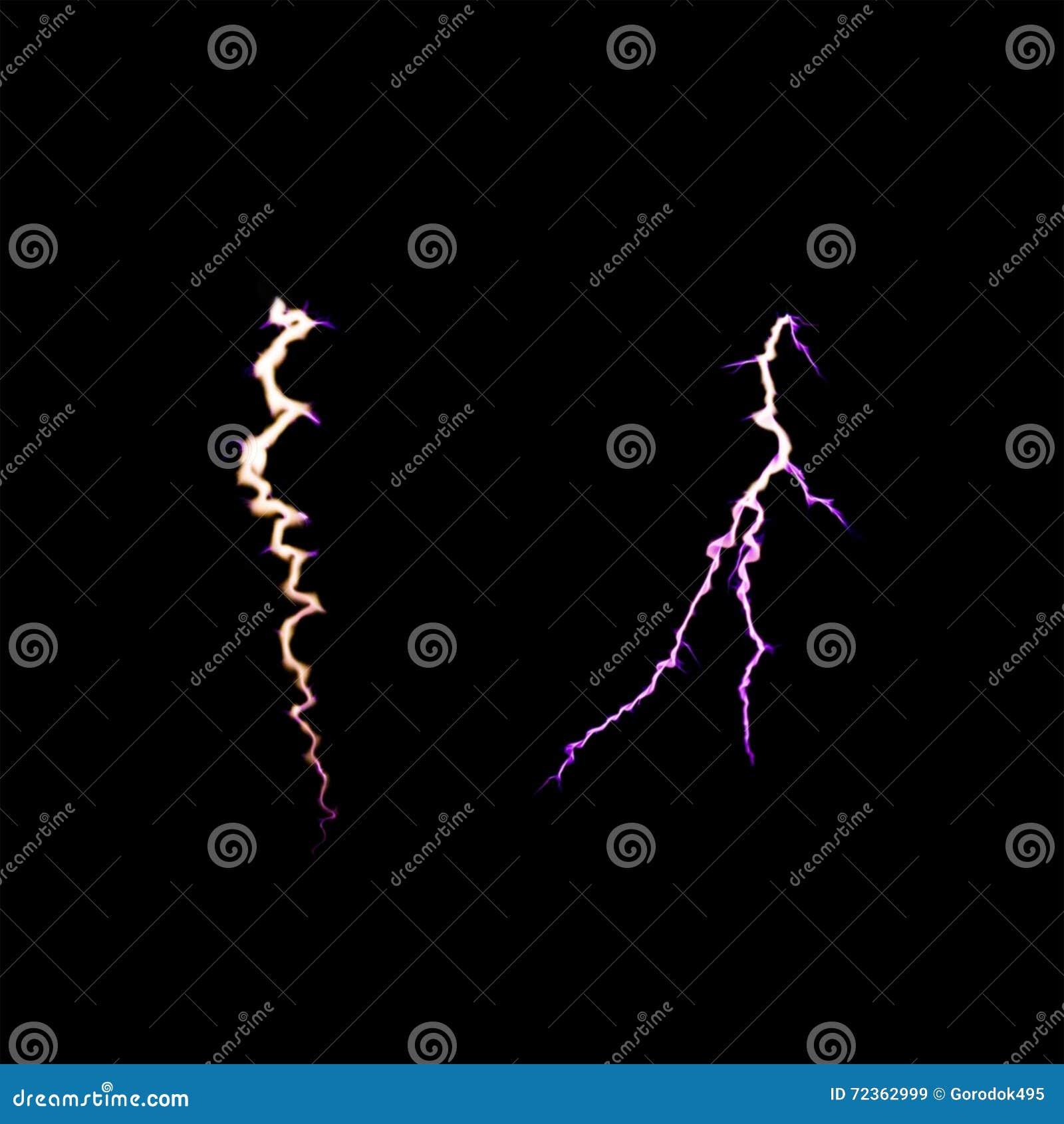 闪电雷,在黑背景的放电 软绵绵地集中