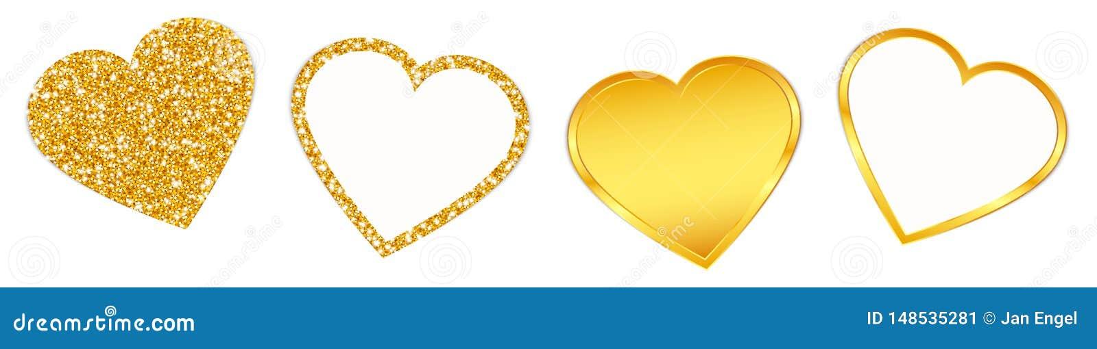 闪耀和发光集合的四金黄心脏
