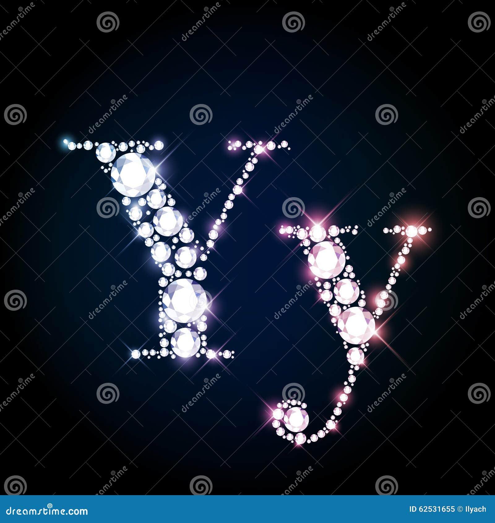 闪耀的金刚石宝石信件Y