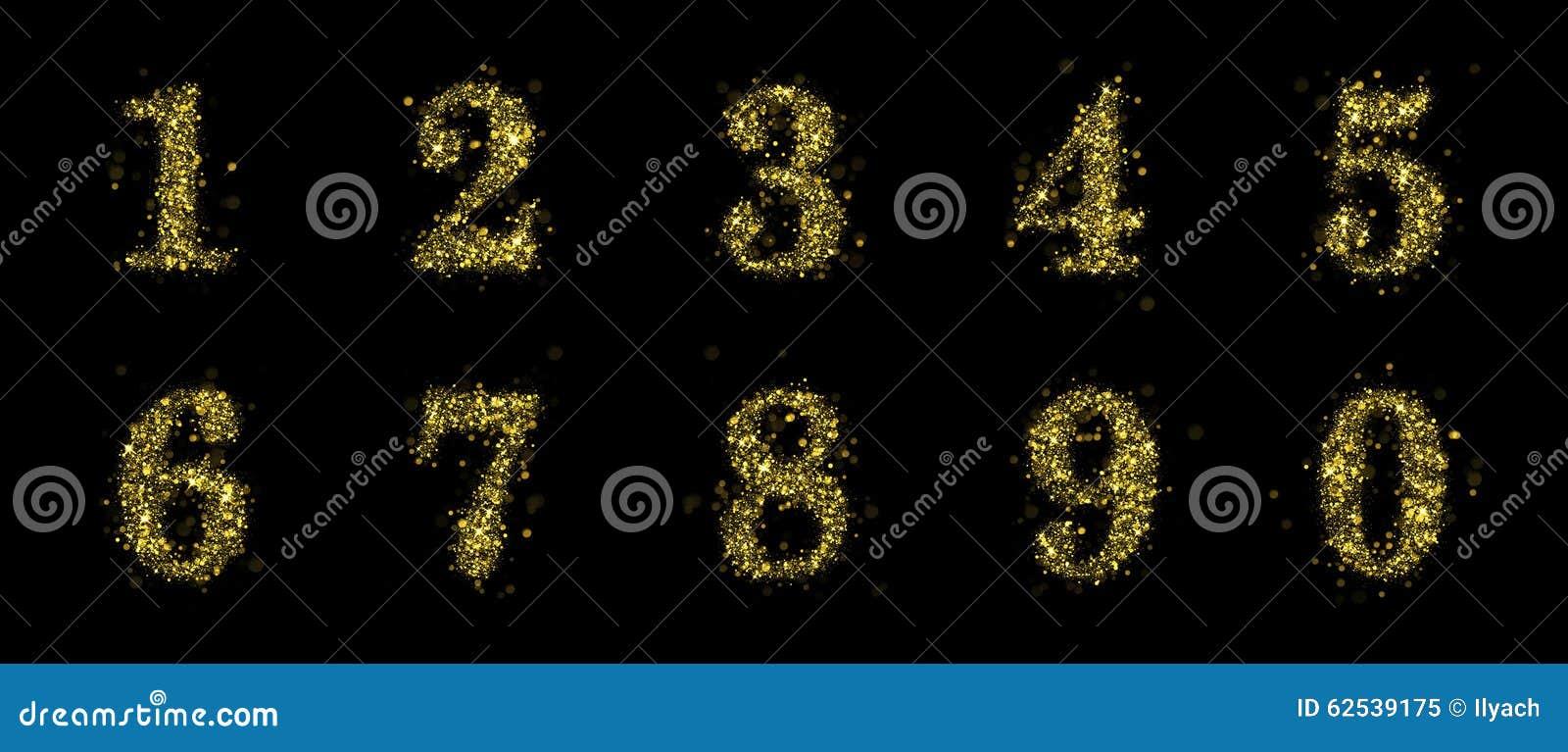闪耀的金黄闪烁衣服饰物之小金属片数字设置了0到1