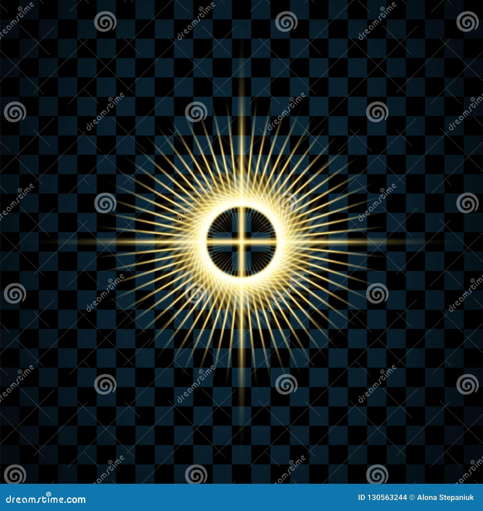 闪闪发光金星,被隔绝的透明背景 焕发亮光作用 与闪烁的金黄不可思议的爆炸,发光发光