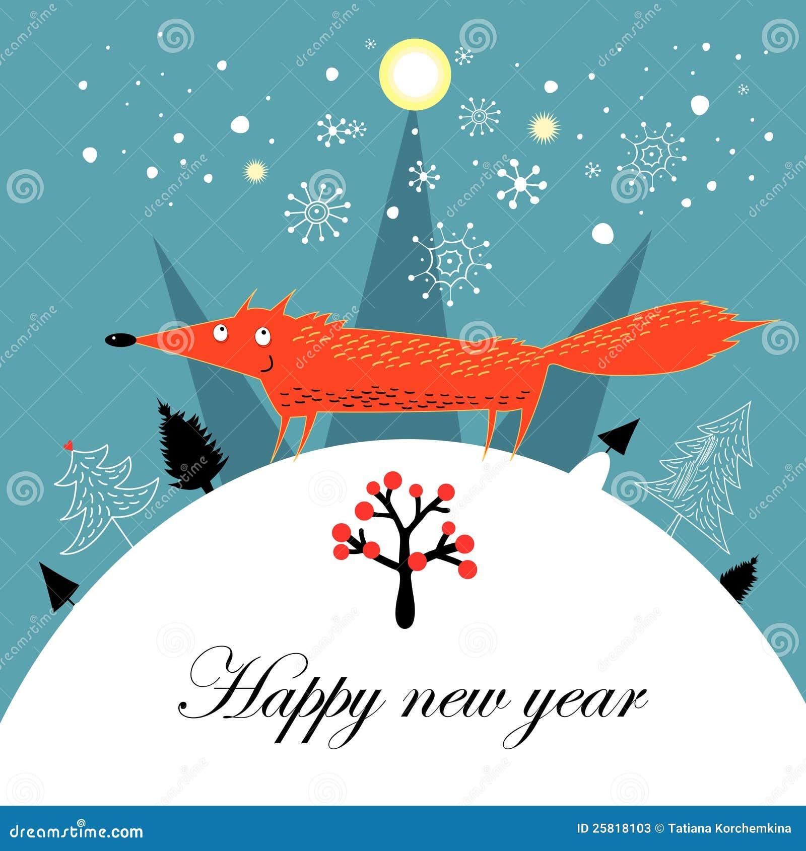 问候与狐狸的圣诞卡