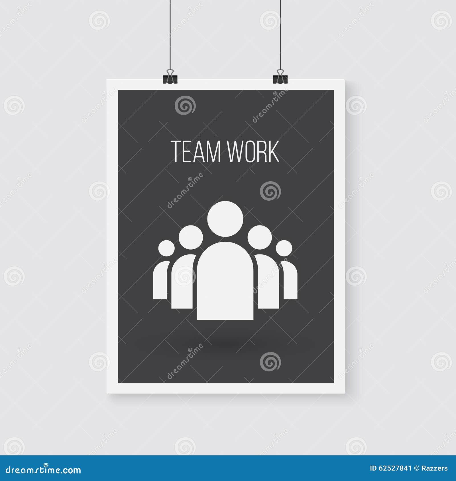 队工作在墙壁上的传染媒介海报 传染媒介组图标