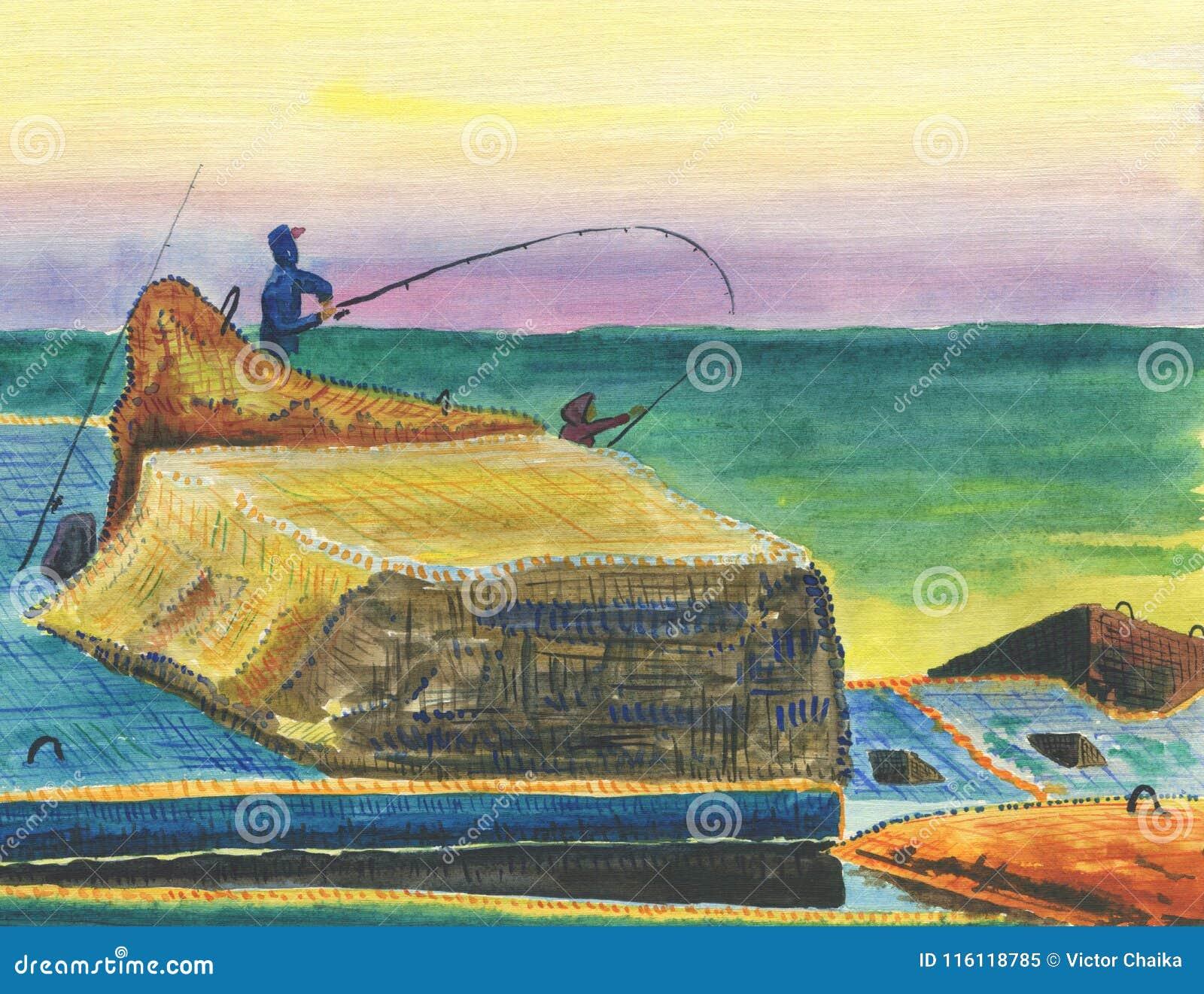 防堤的渔夫