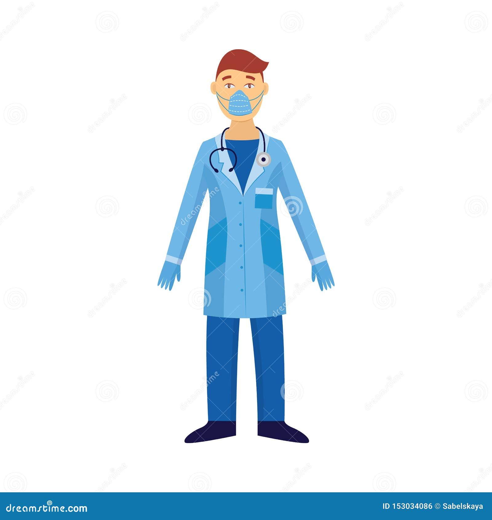 防护套服和病毒在白色平的传染媒介隔绝的安全面具的医生