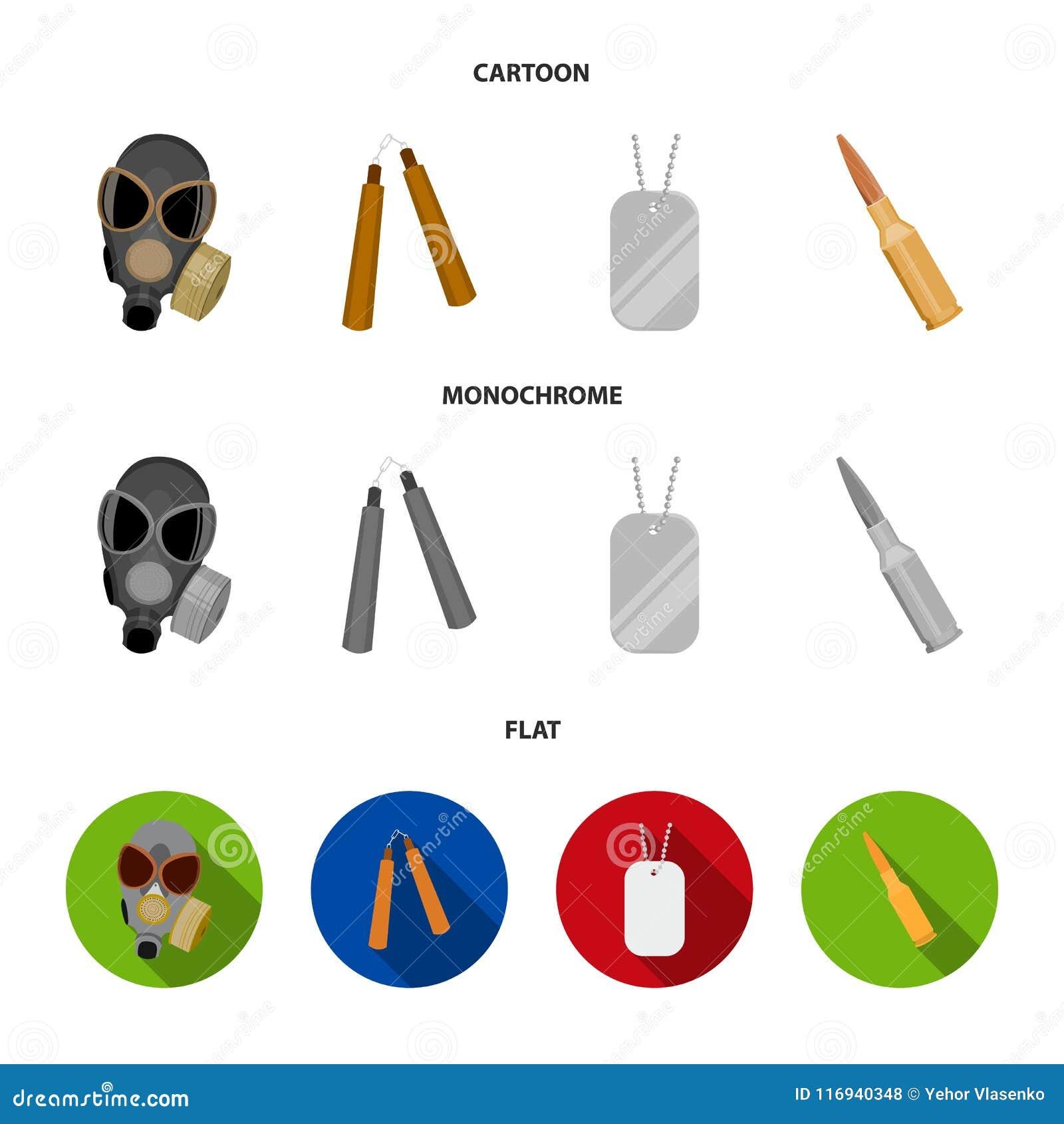 防毒面具, nunchak,弹药,战士象征 武器设置了在动画片,平,单色样式传染媒介的汇集象