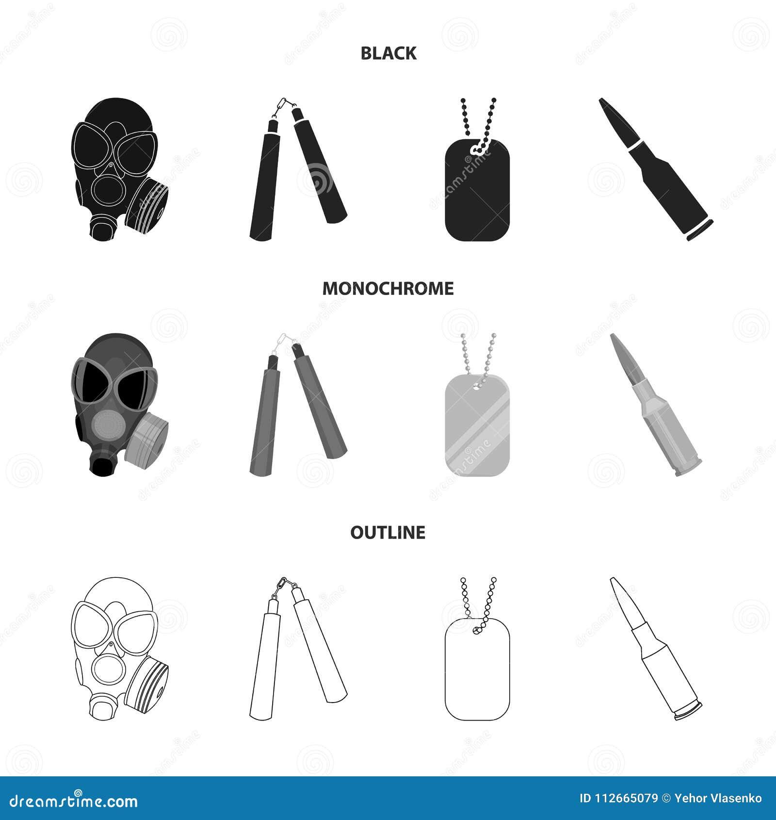 防毒面具, nunchak,弹药,战士象征 武器设置了在黑的汇集象,单色,概述样式传染媒介