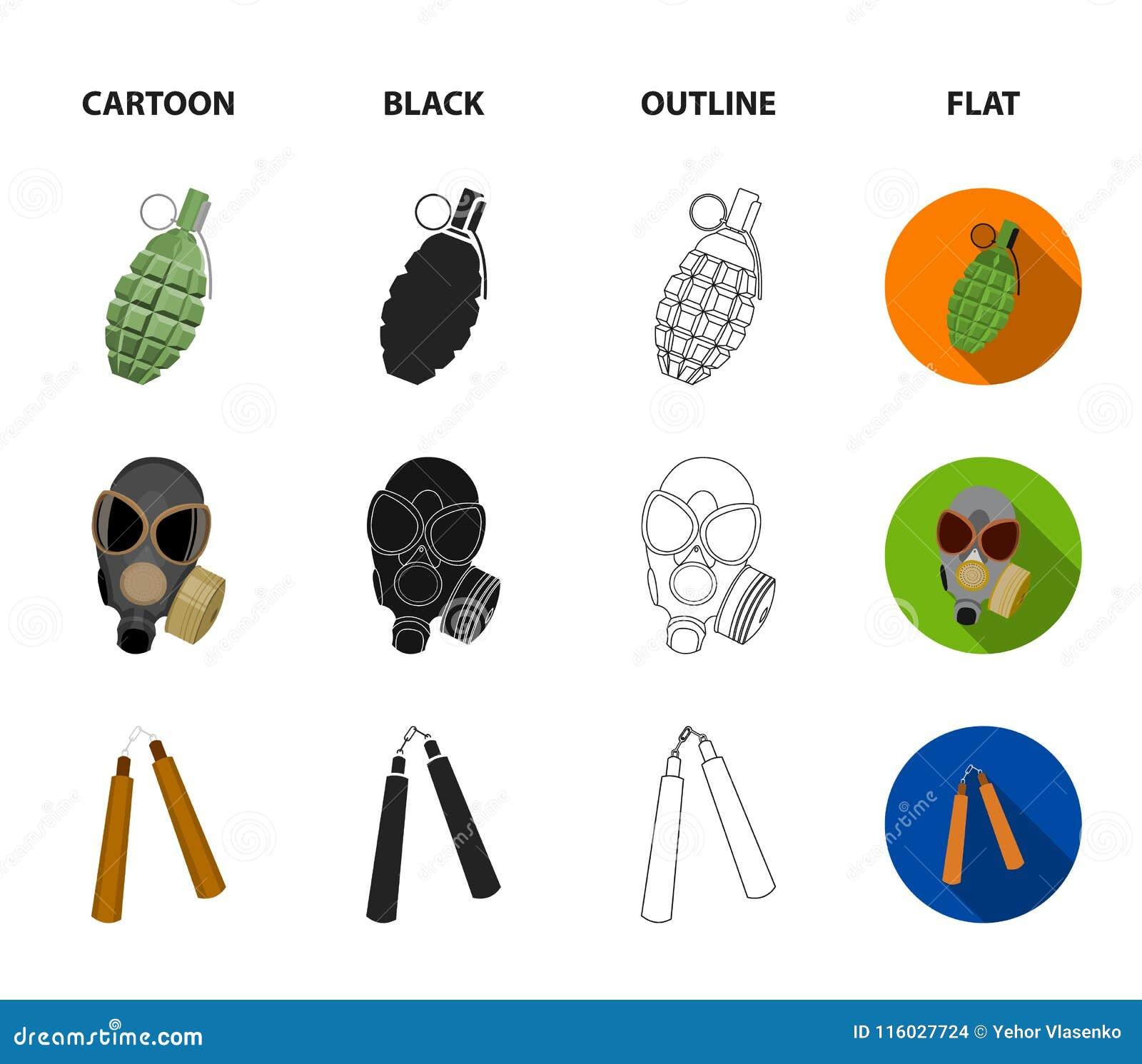 防毒面具, nunchak,弹药,战士象征 武器设置了在动画片,黑色,概述,平的样式传染媒介的汇集象