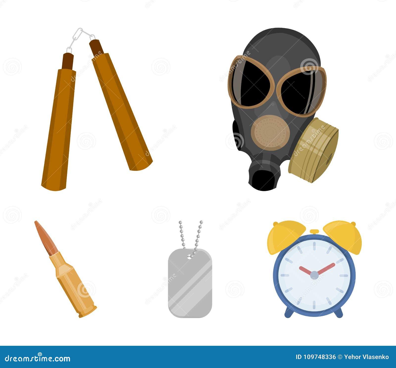 防毒面具, nunchak,弹药,战士` s象征 武器在动画片样式传染媒介标志库存设置了汇集象