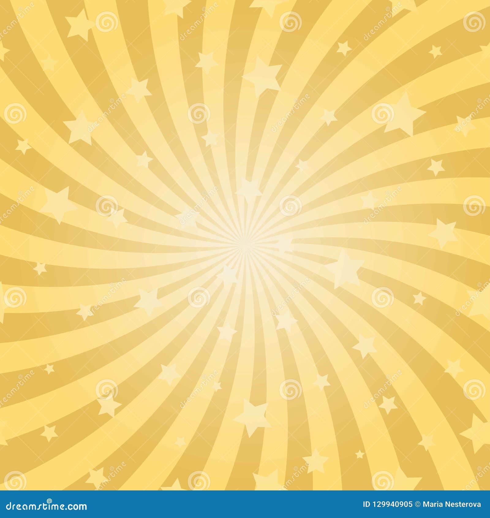 阳光抽象螺旋背景 与星的金子黄色色彩生成背景