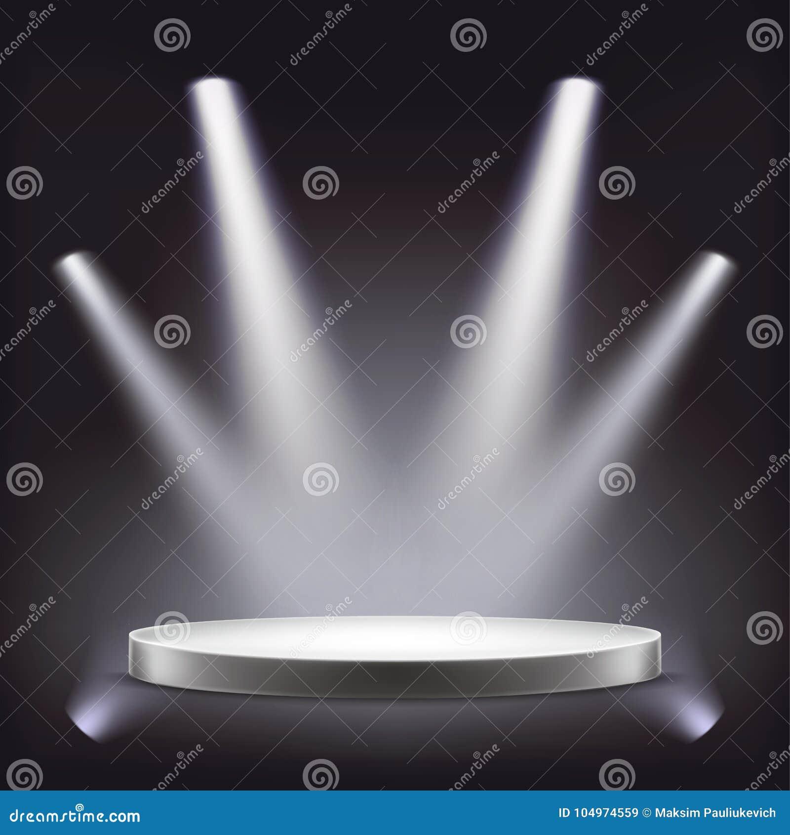 阶段,聚光灯照亮的空的圆的指挥台