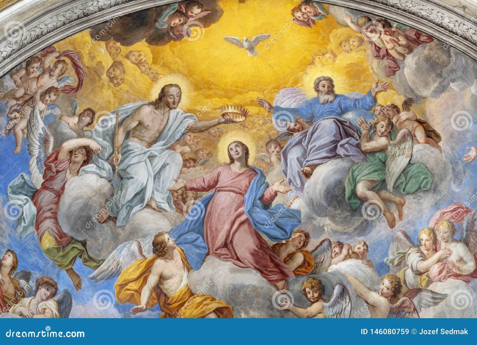 阿奇雷亚莱,意大利,2018年:圣母玛丽亚的加冕壁画教会切萨di圣卡米洛主要近星点的彼得罗Vasta