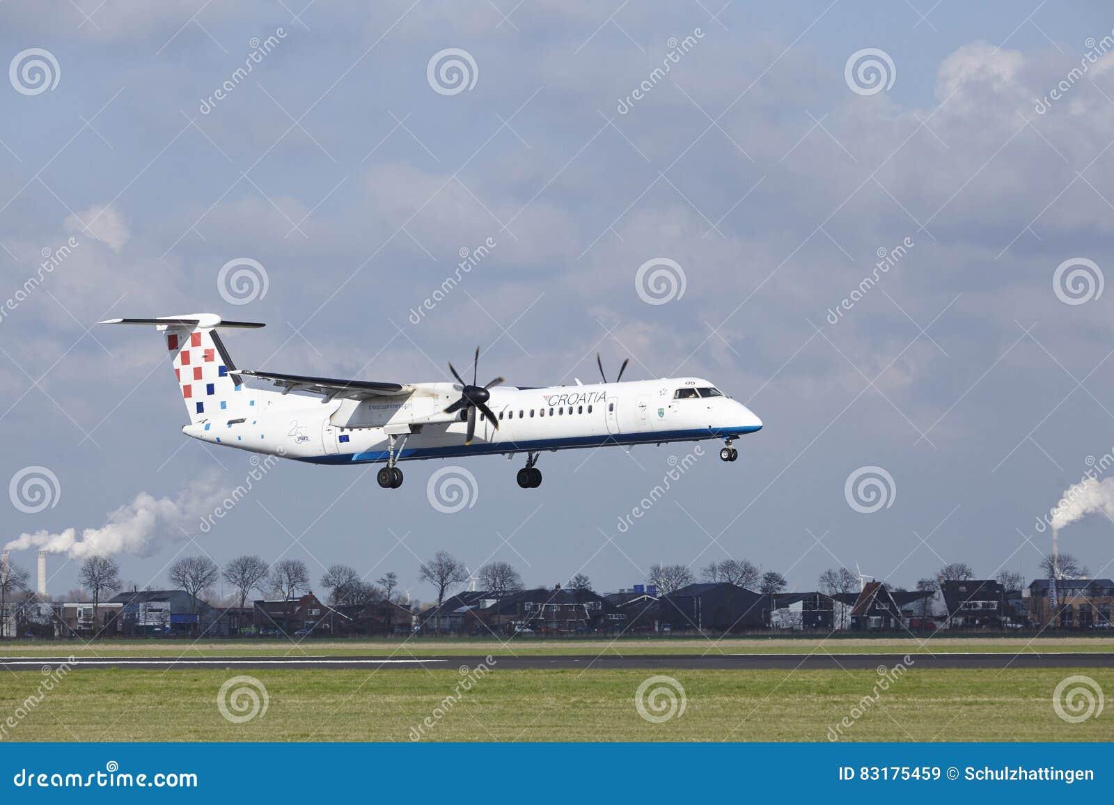 阿姆斯特丹史基浦机场-克罗地亚航空公司投炸弹者破折号8土地