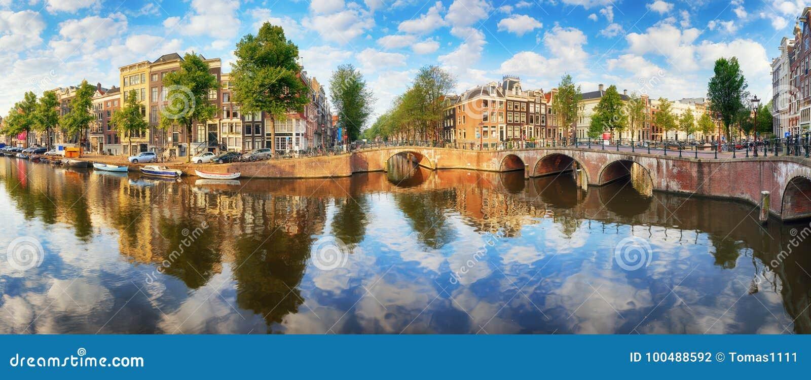 阿姆斯特丹运河安置充满活力的反射,荷兰, panora