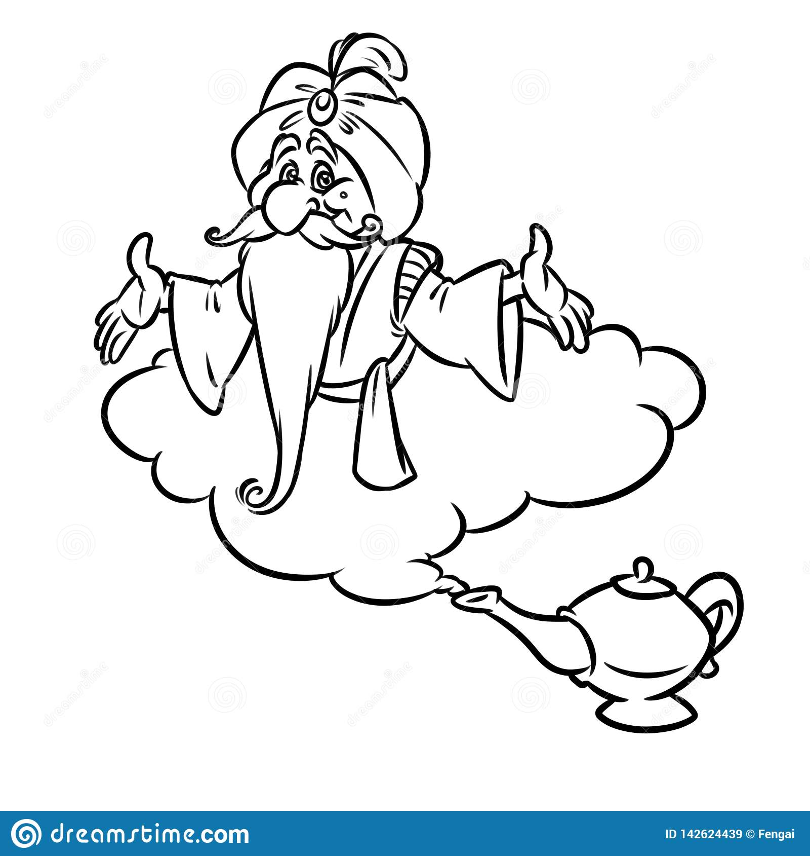 阿拉丁不可思议的灯金老巫术师云彩动画片