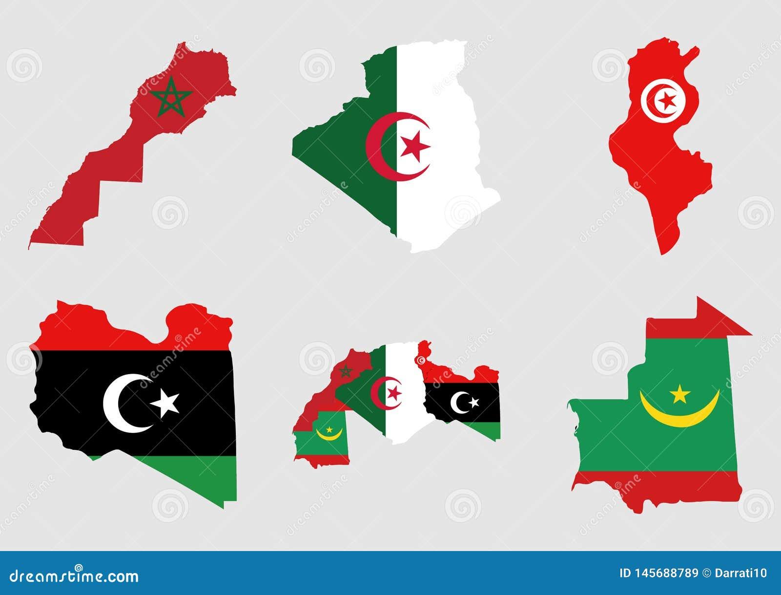 阿拉伯人马格里布国家的地图和旗子