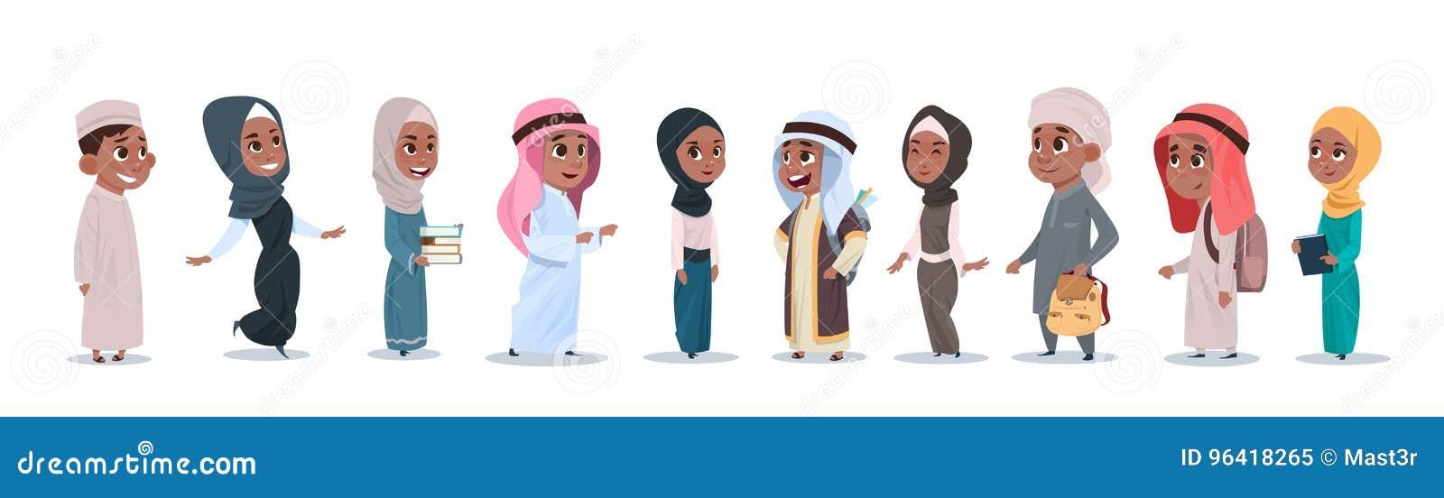 阿拉伯儿童女孩和男孩小组小动画片学生汇集穆斯林学生