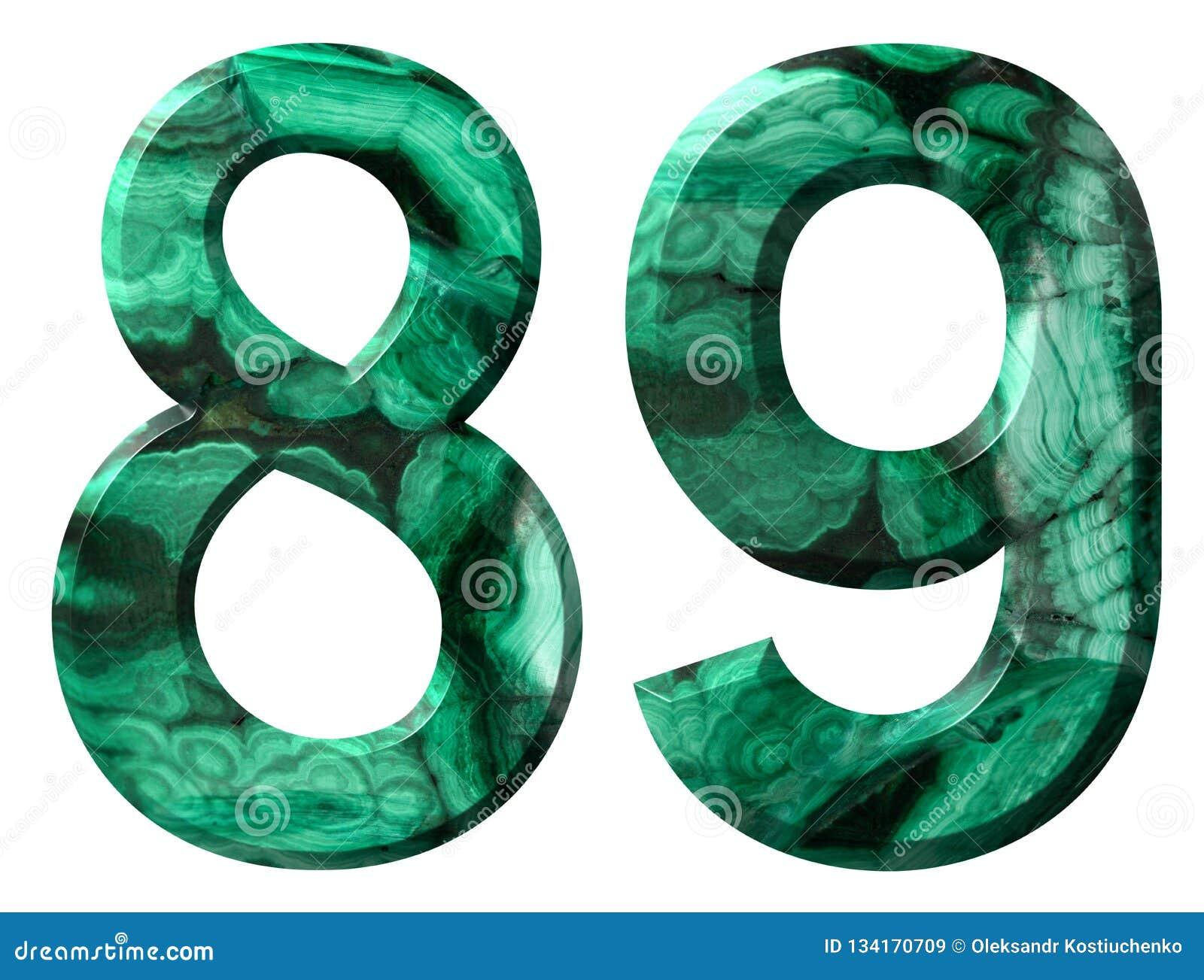 阿拉伯数字89,八十九,从自然绿色绿沸铜,隔绝在白色背景