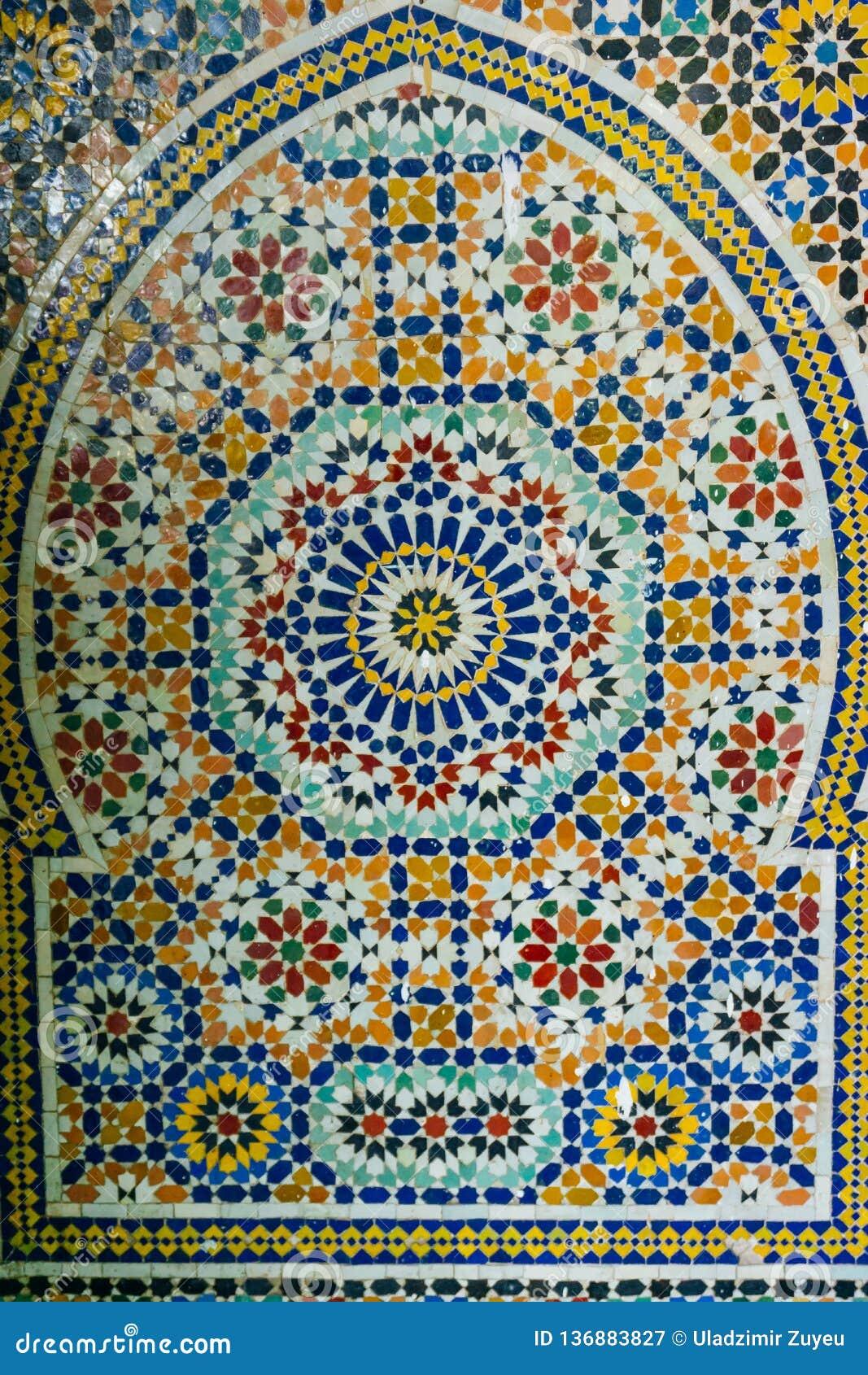 阿拉伯样式,东方伊斯兰教的装饰品 摩洛哥瓦片或者摩洛哥zellij传统马赛克