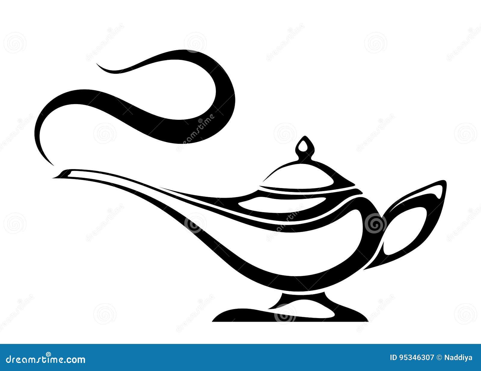 阿拉伯灵魔灯 传染媒介黑剪影