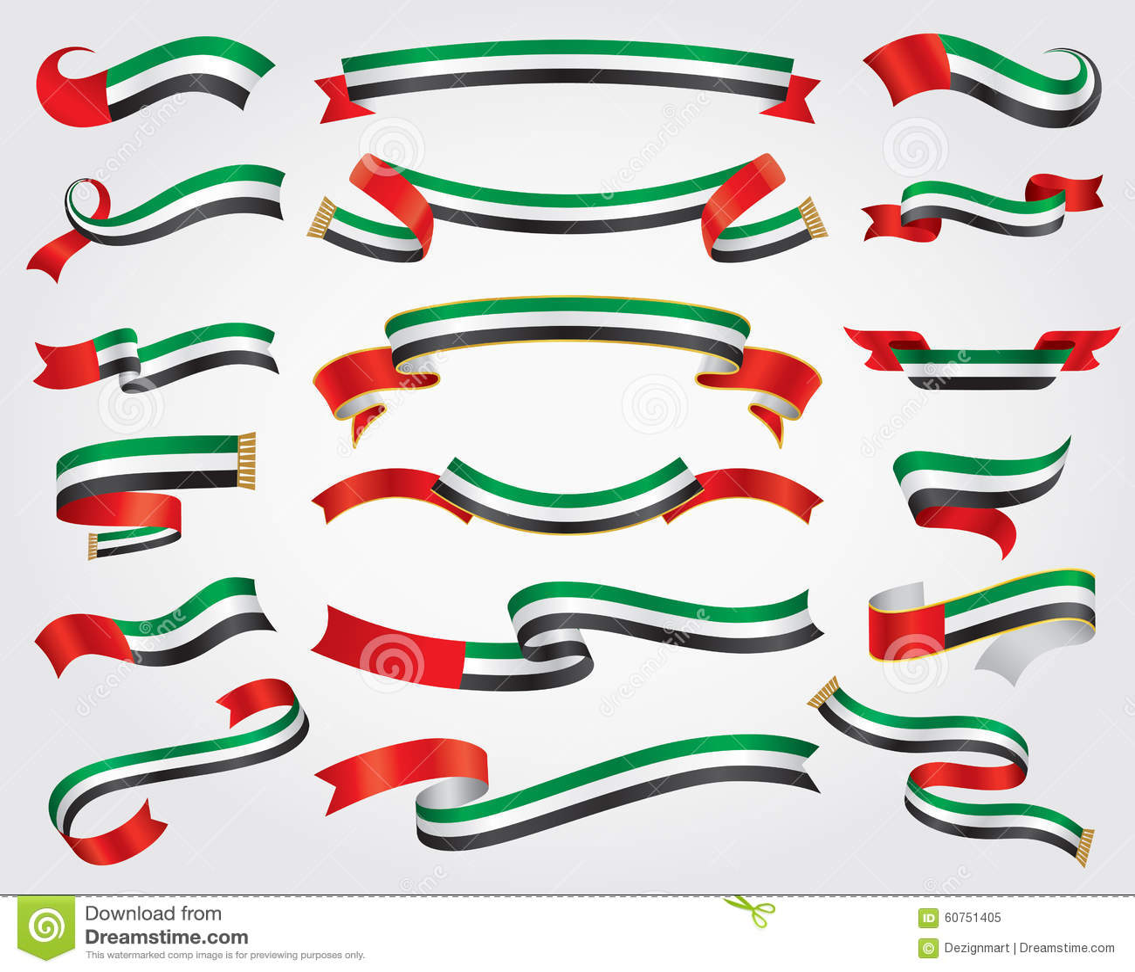 阿拉伯联合酋长国旗子丝带集合