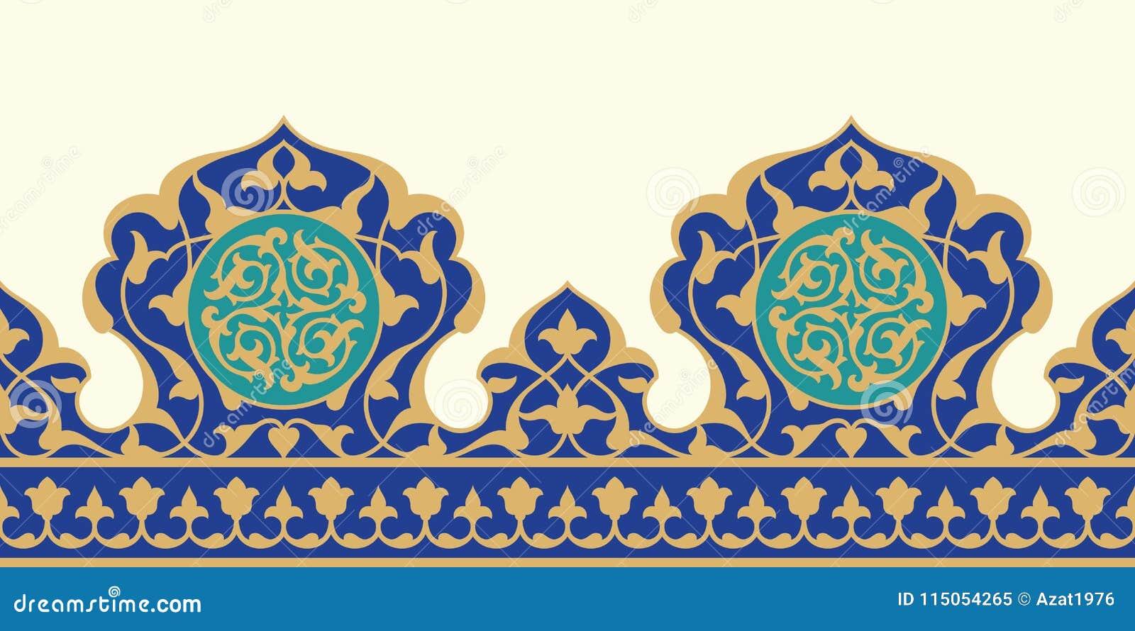 阿拉伯花卉无缝的边界 传统伊斯兰教的设计