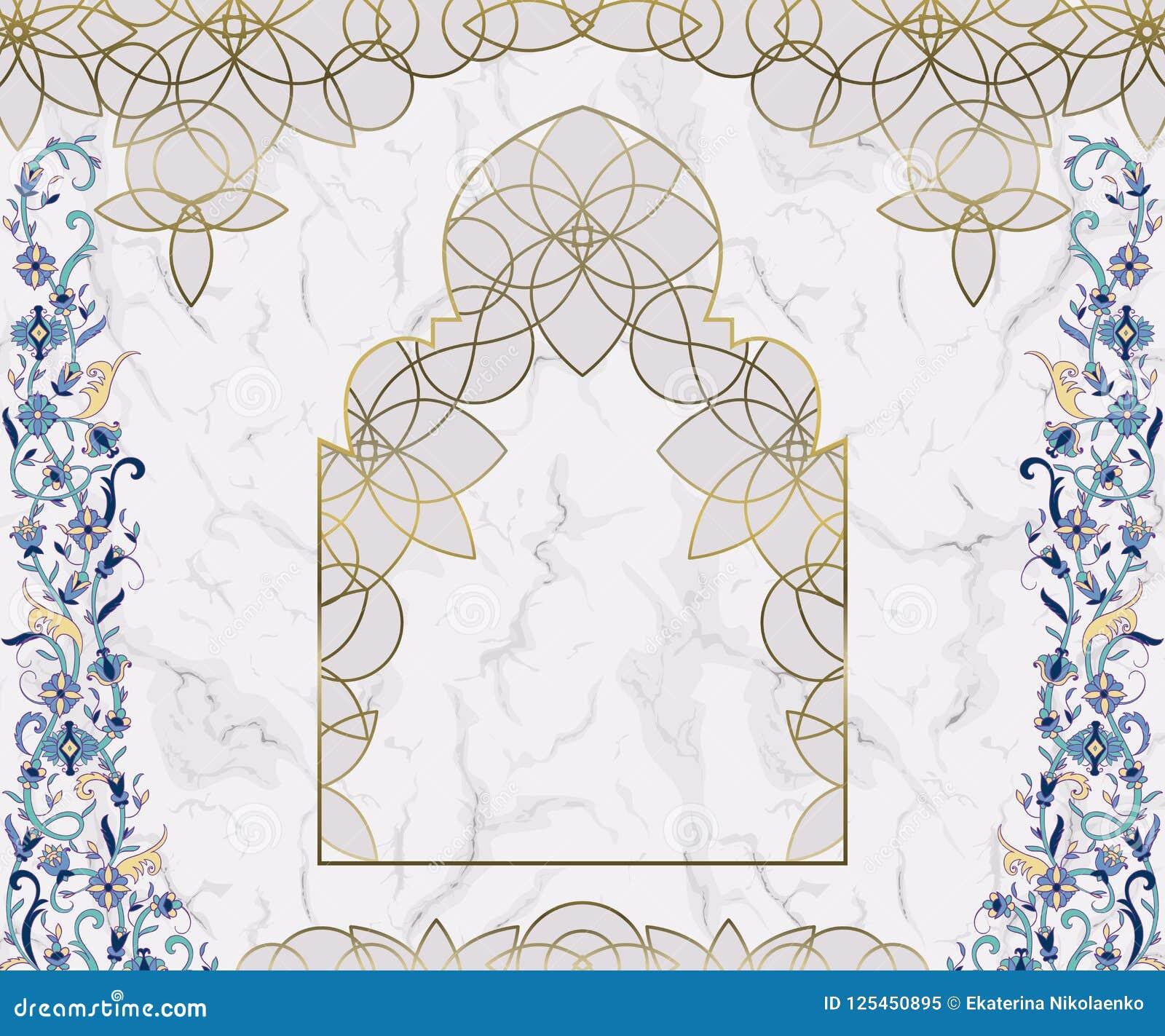 阿拉伯花卉曲拱 在白色大理石背景的传统伊斯兰教的装饰品 清真寺装饰设计元素