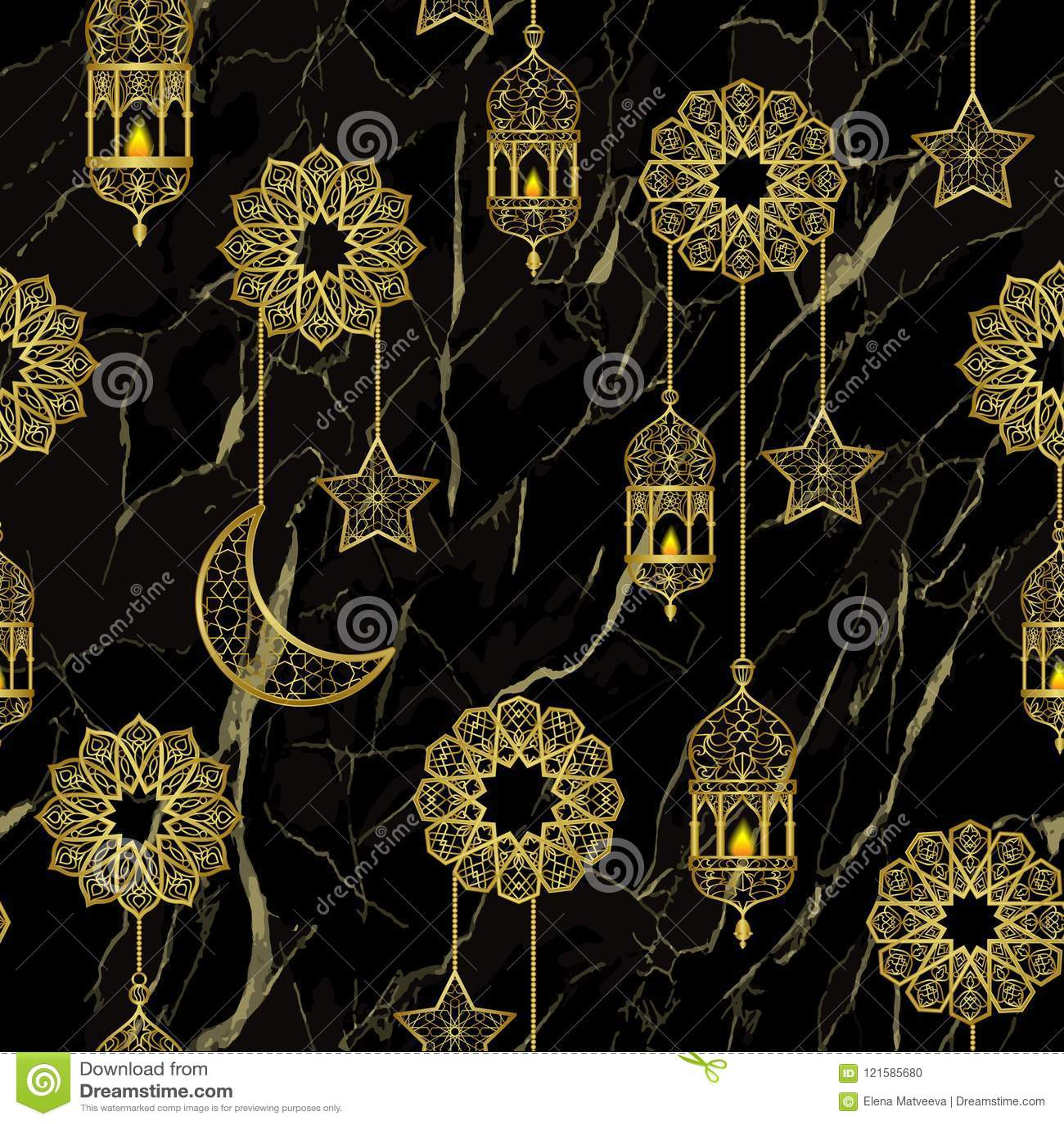 阿拉伯金黄灯笼无缝的样式