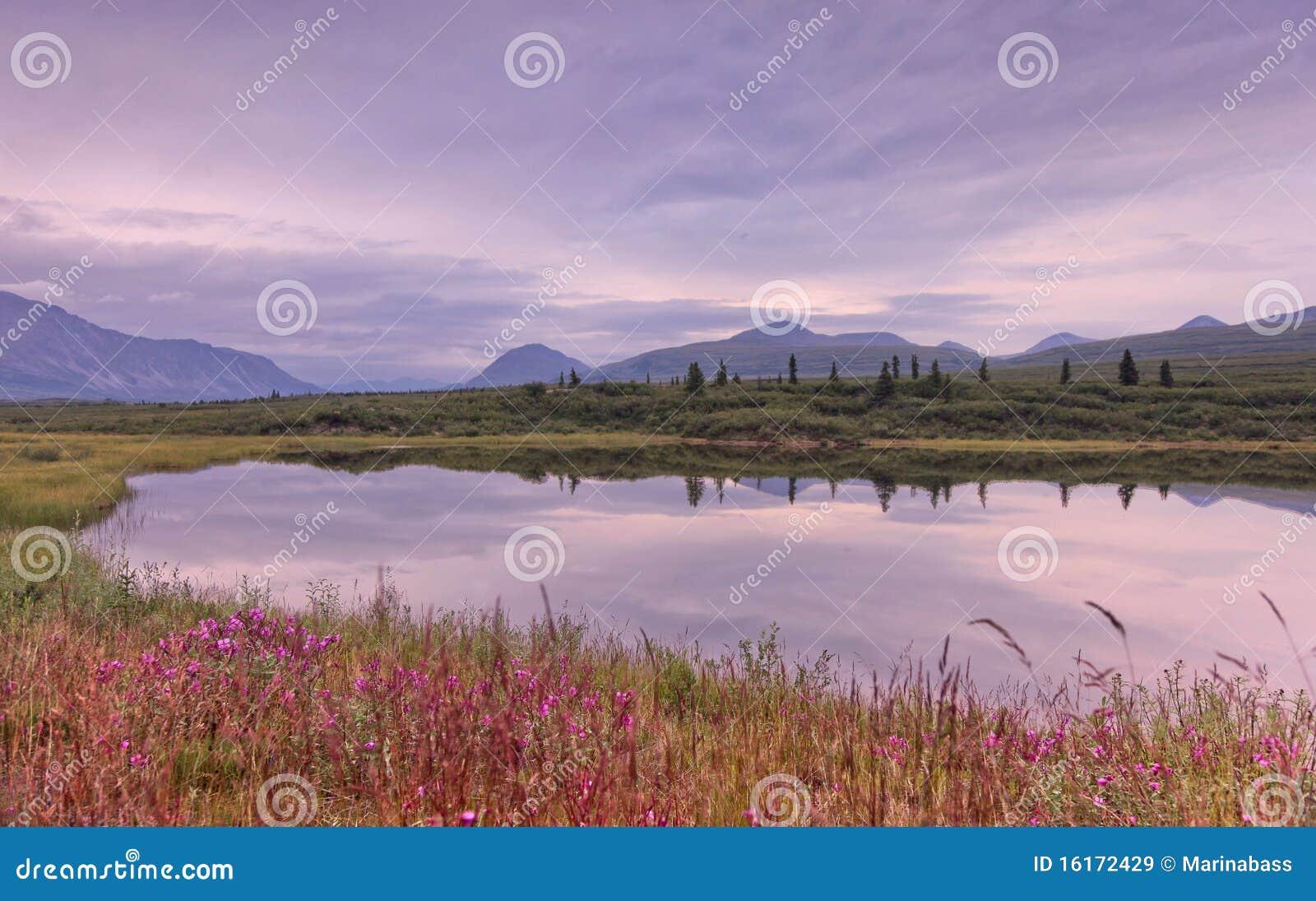 阿拉斯加湖mountan反映