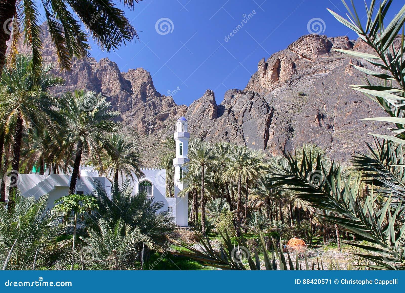 阿曼:一个清真寺的看法接近Bilad Sayt村庄的西哈吉尔的