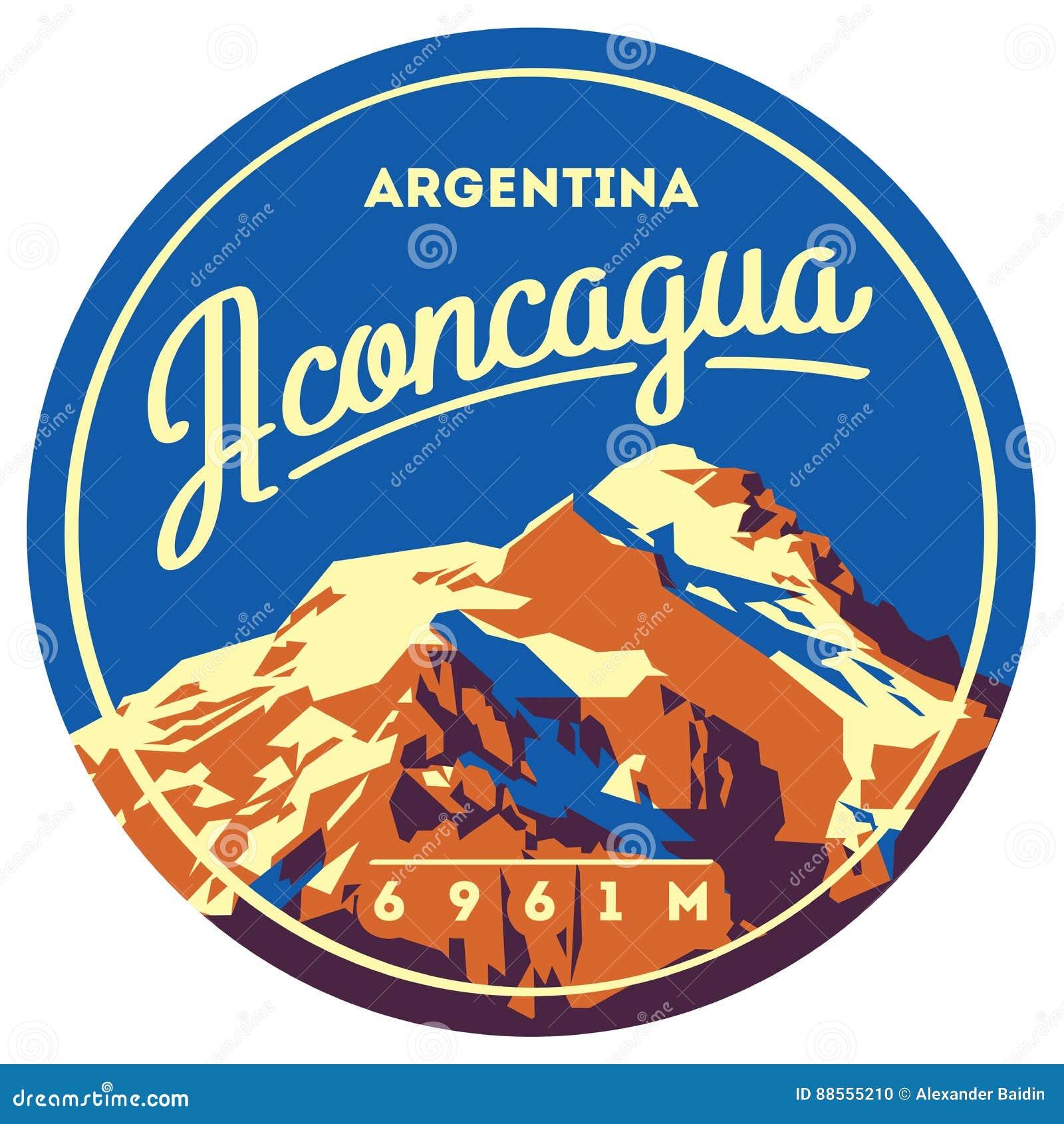 阿空加瓜在安地斯,阿根廷室外冒险徽章 高山例证