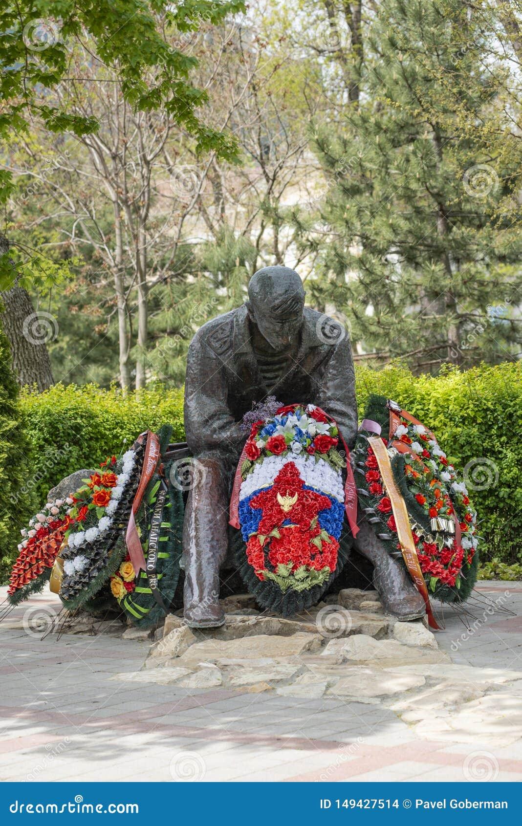 阿纳帕,俄罗斯- 2019年5月9日:纪念碑建立阿富汗人的战争