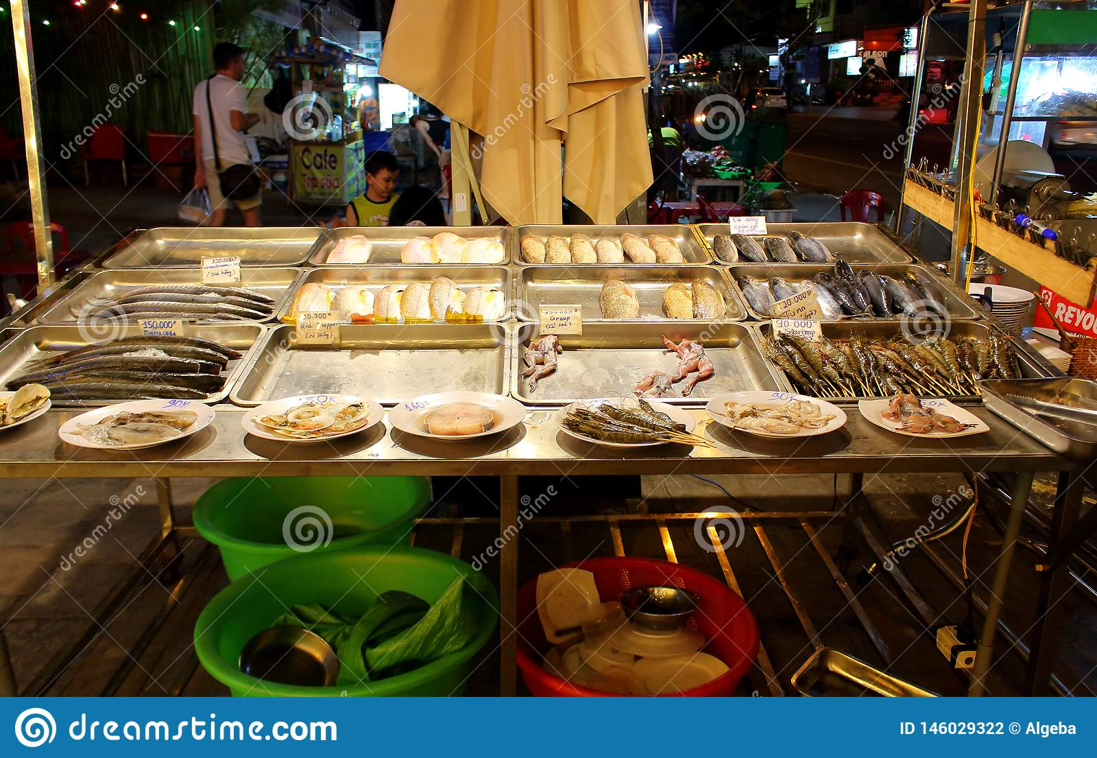 陈列室街道咖啡馆用海鲜