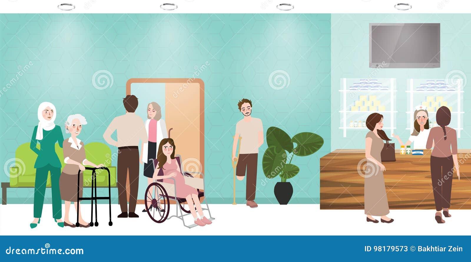 医院候诊室诊所大厅招待会和药房例证