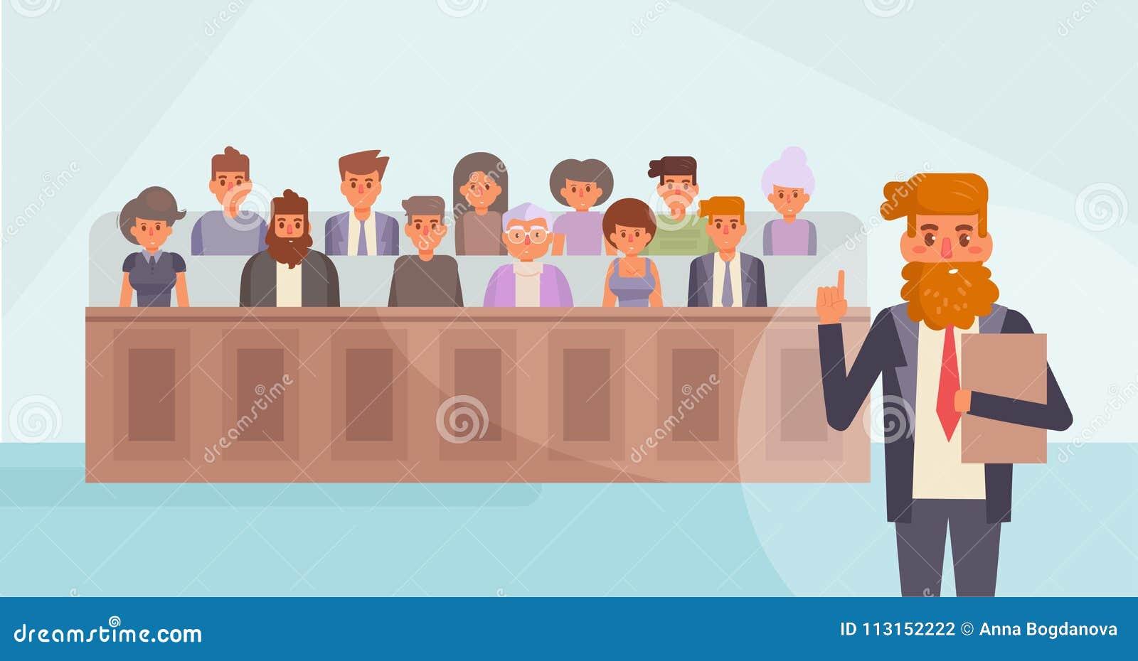 陪审员法庭上 向量 动画片