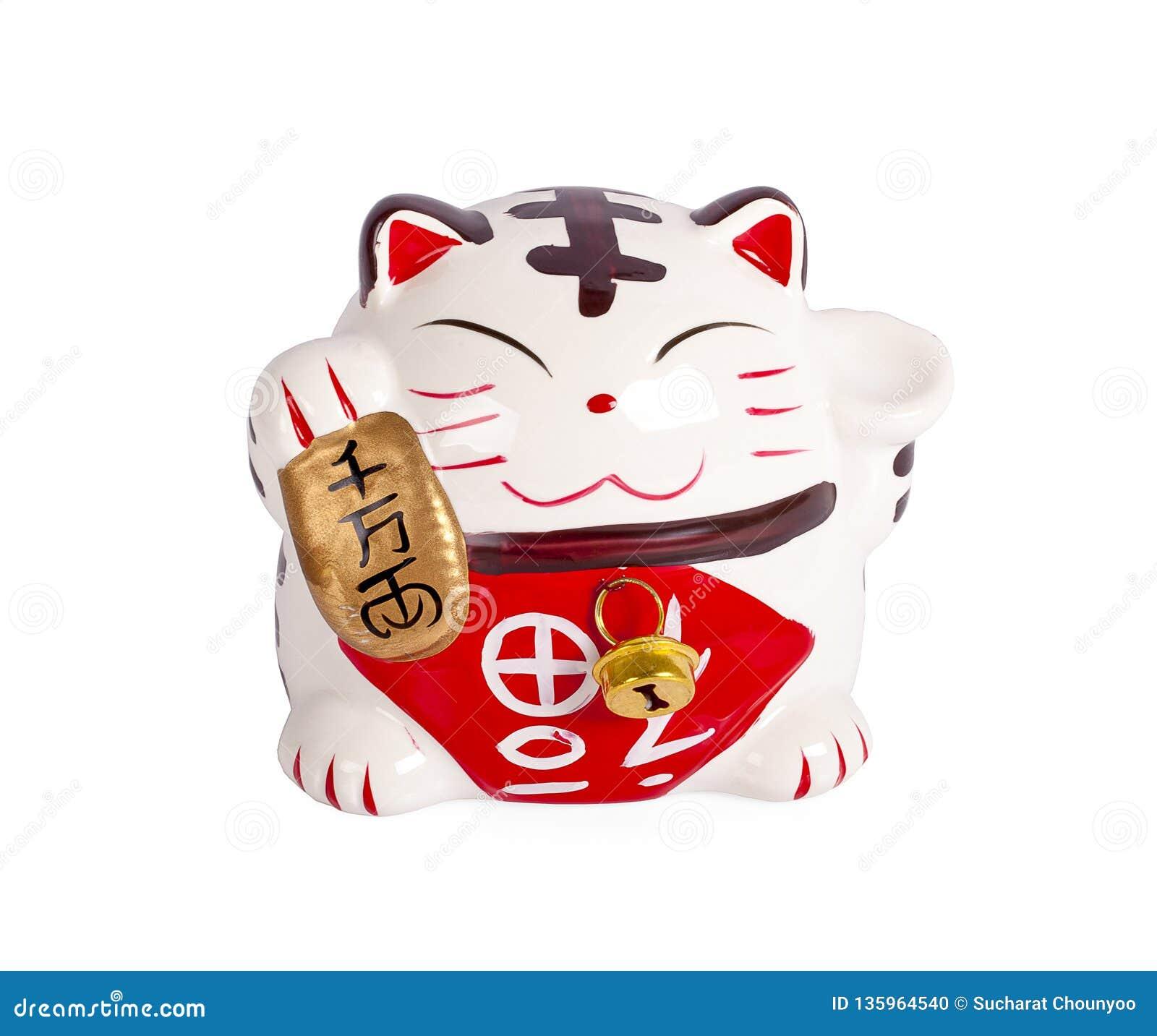 陶瓷玩偶日本欢迎的幸运的猫 Maneki Neko:日本字符意味爆发或时运